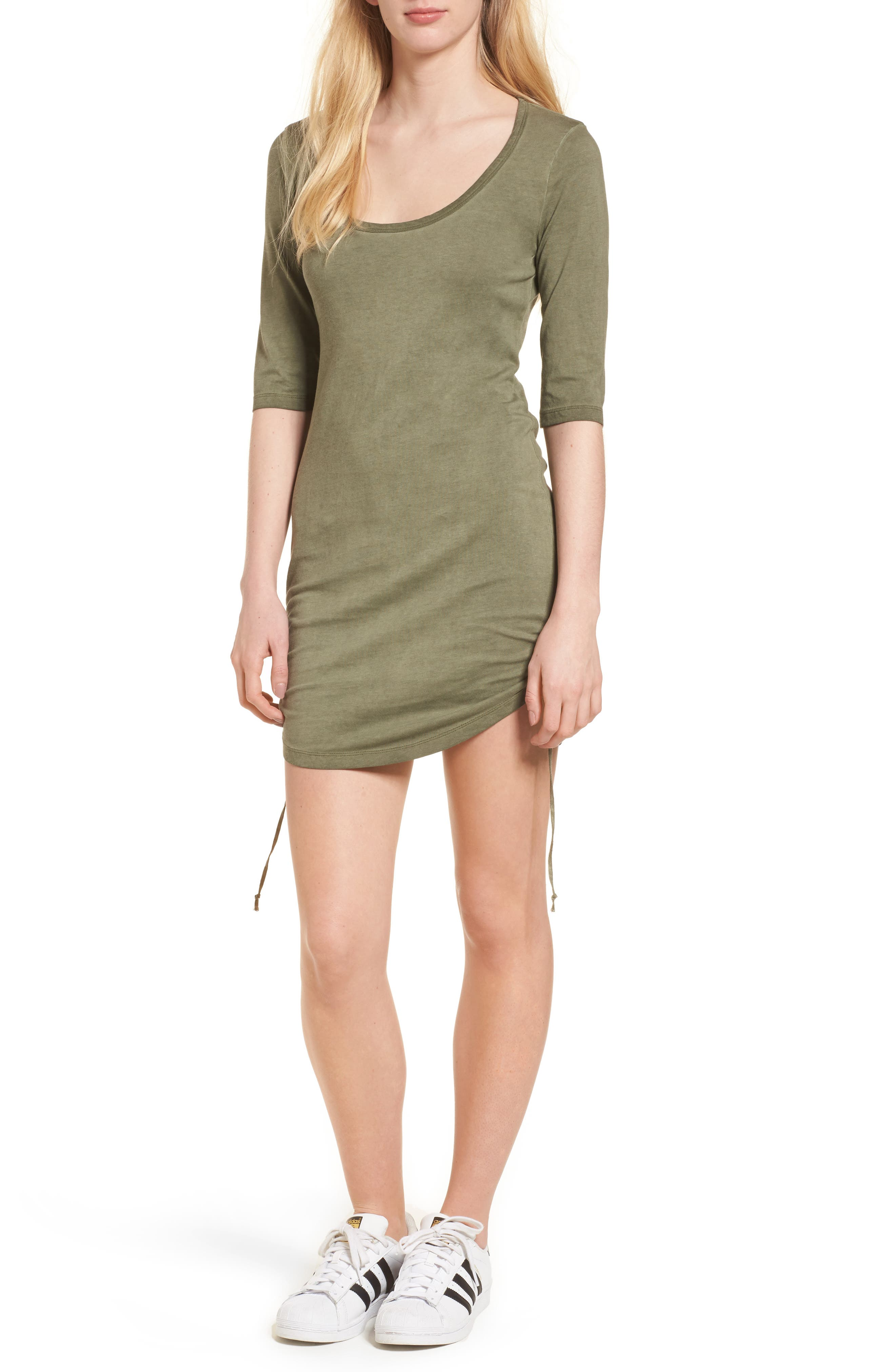 Ruched Body-Con Dress,                             Main thumbnail 2, color,
