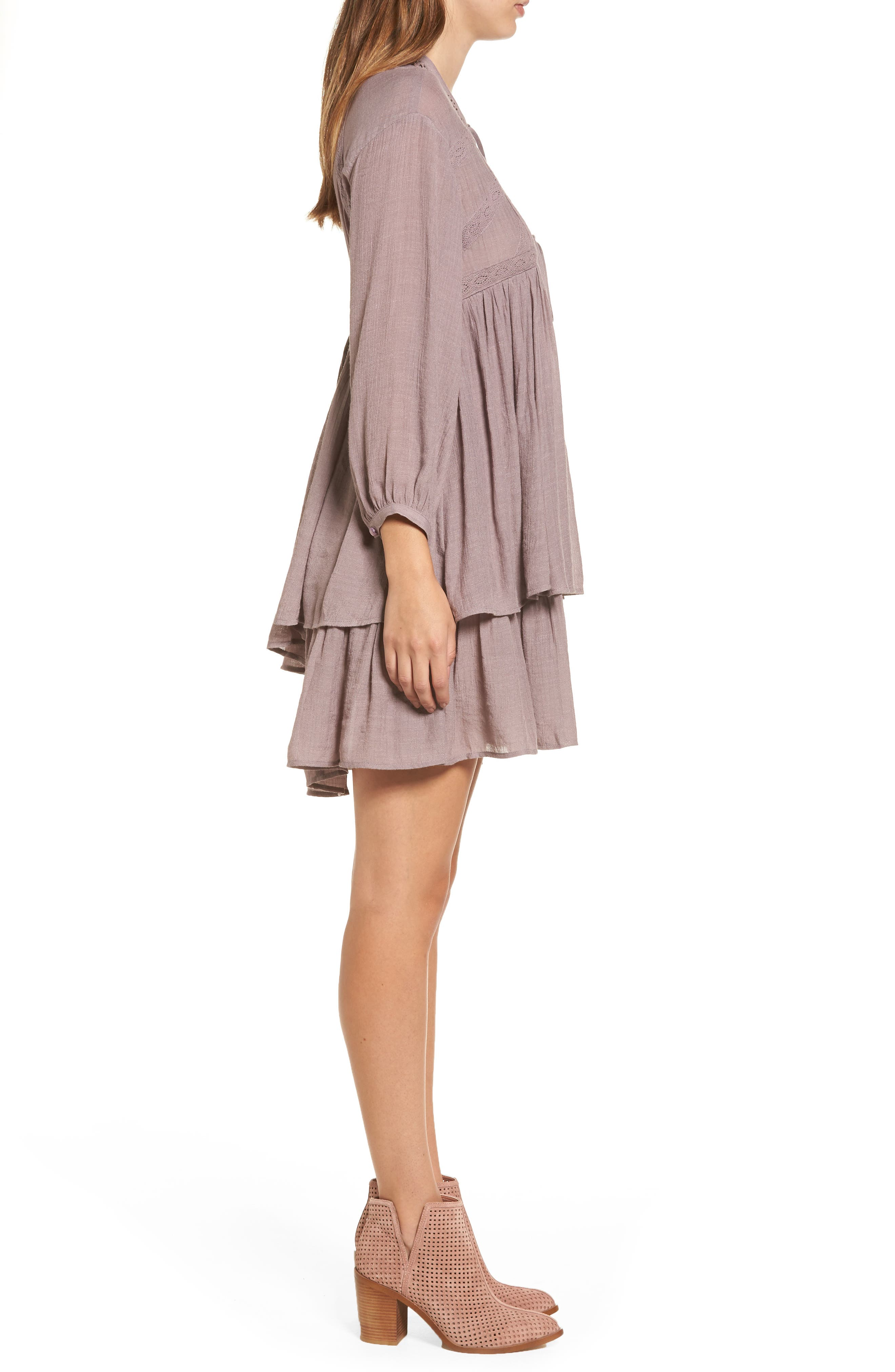 Lace-Up Peasant Dress,                             Alternate thumbnail 3, color,                             530