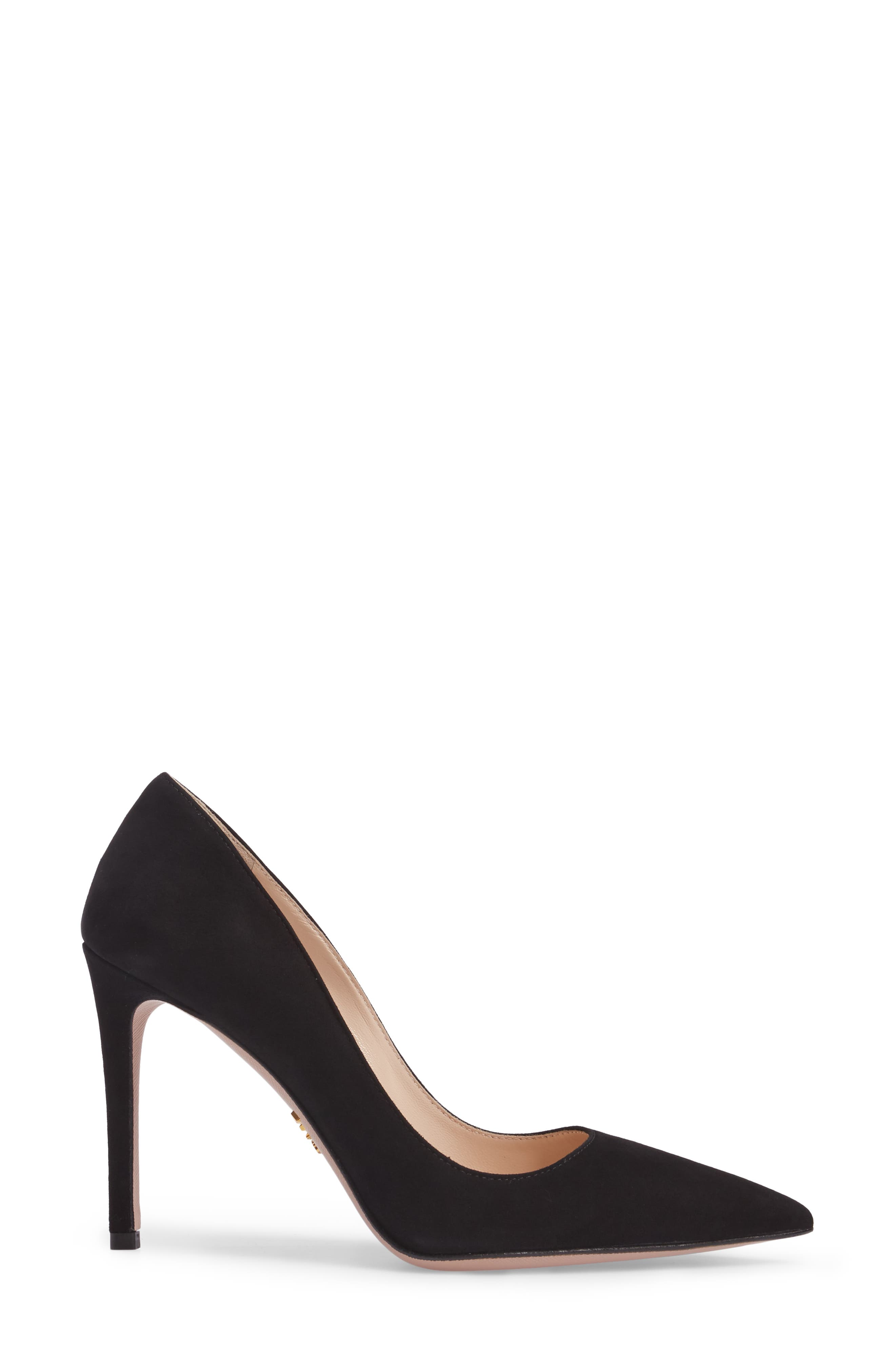 Pointy Toe Pump,                             Alternate thumbnail 3, color,                             BLACK