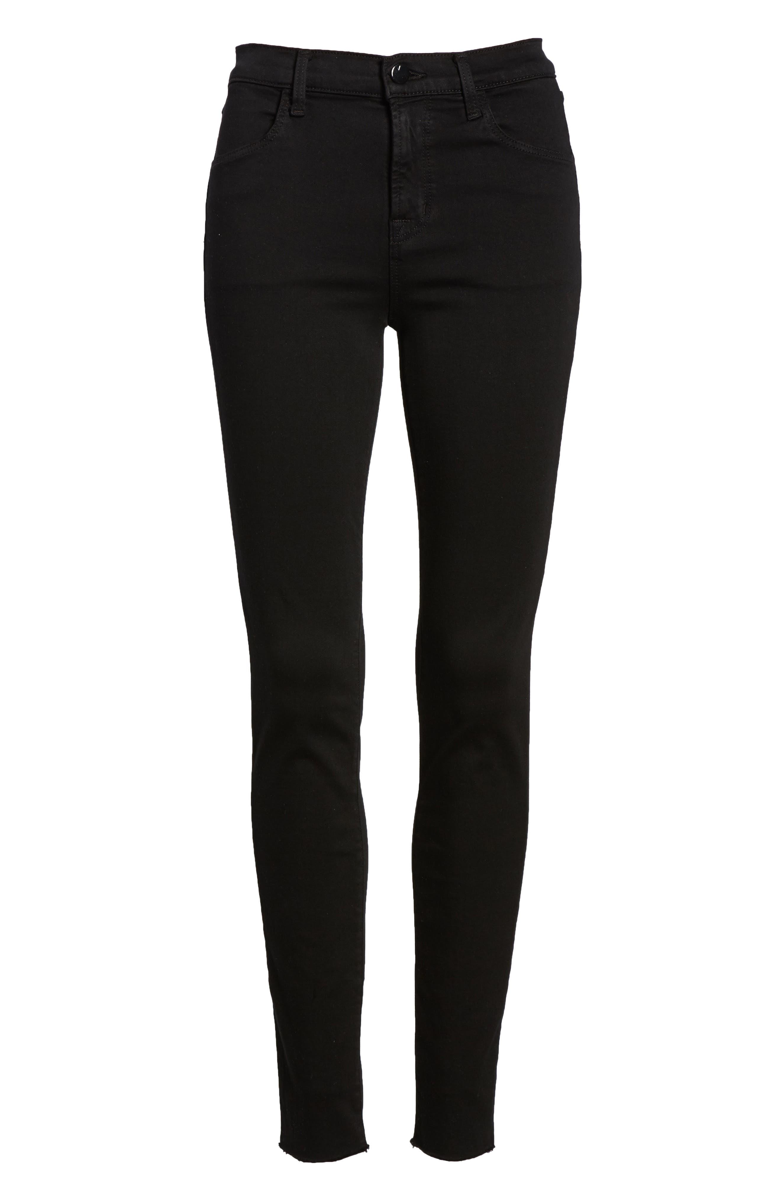 Maria High Waist Skinny Jeans,                             Alternate thumbnail 7, color,                             BLACK BASTILLE