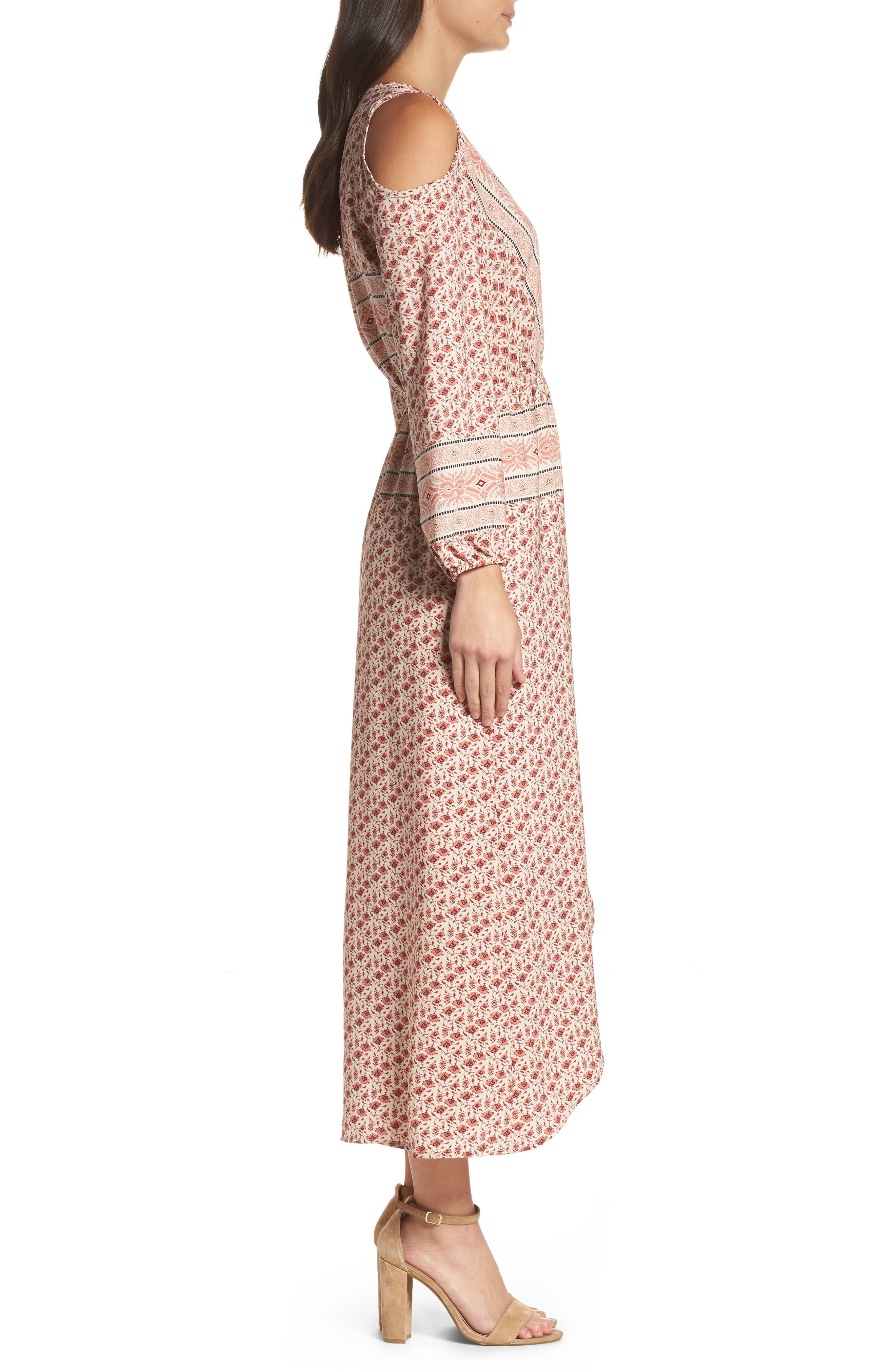 Cold Shoulder Midi Dress,                             Alternate thumbnail 3, color,                             MADISON