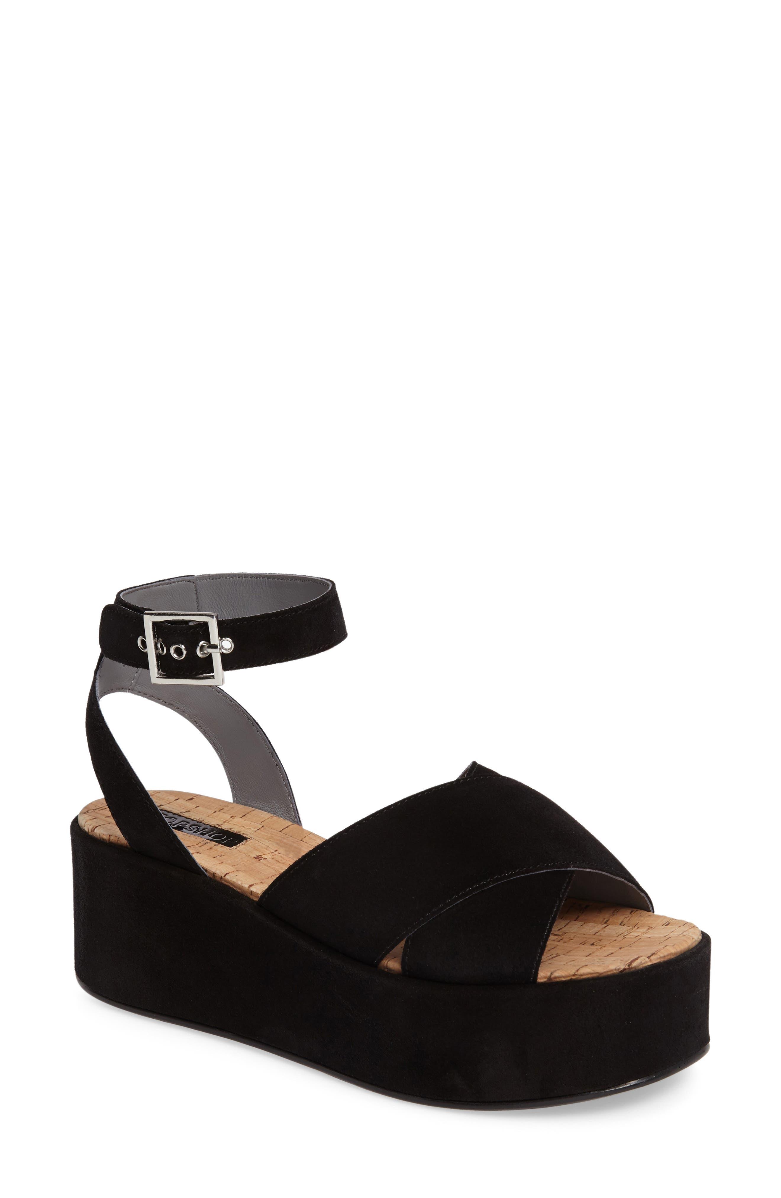 Whisper Platform Sandal, Main, color, 001