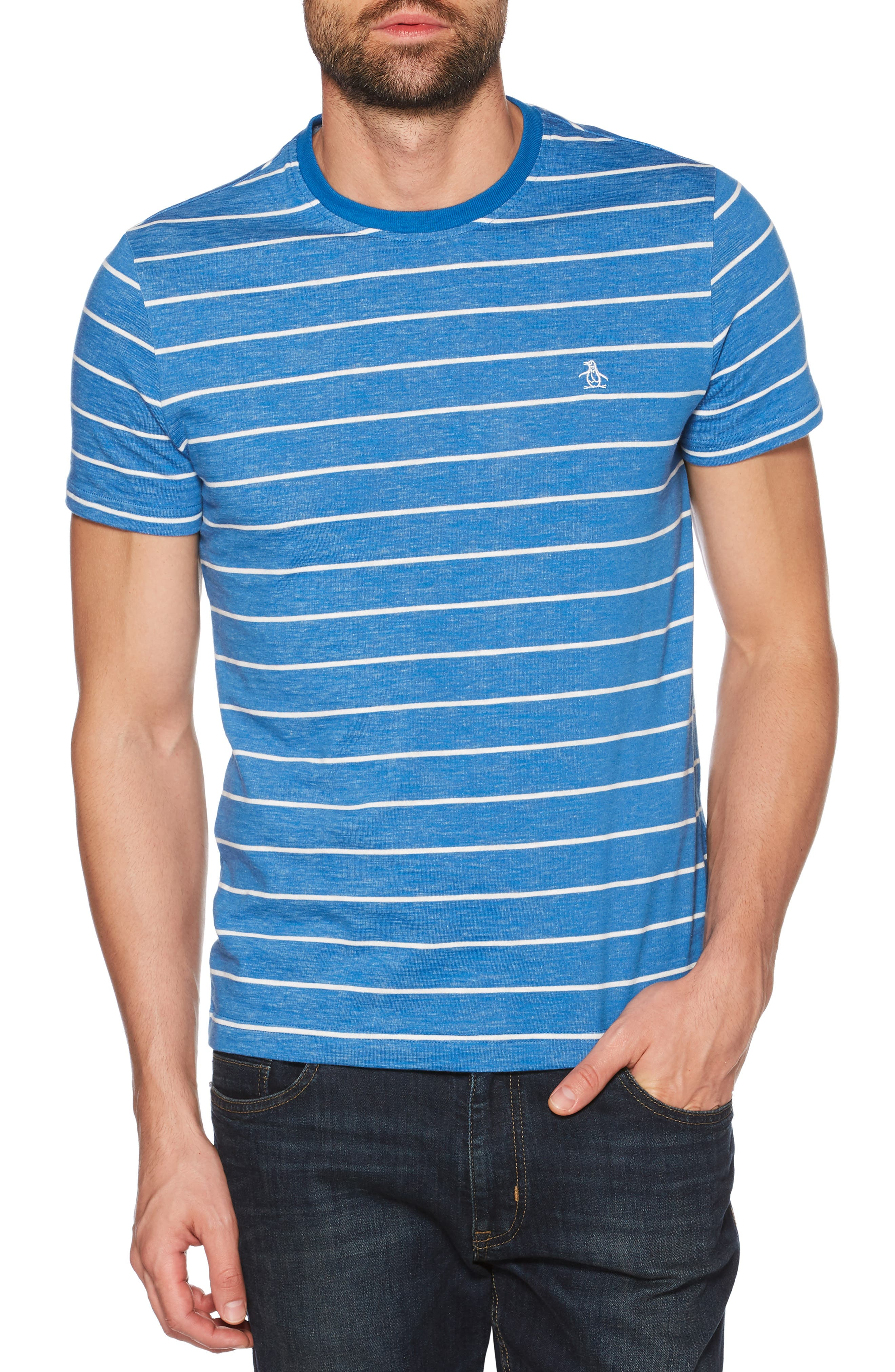 Slim Fit Feeder Striped T-Shirt,                         Main,                         color, CLASSIC BLUE