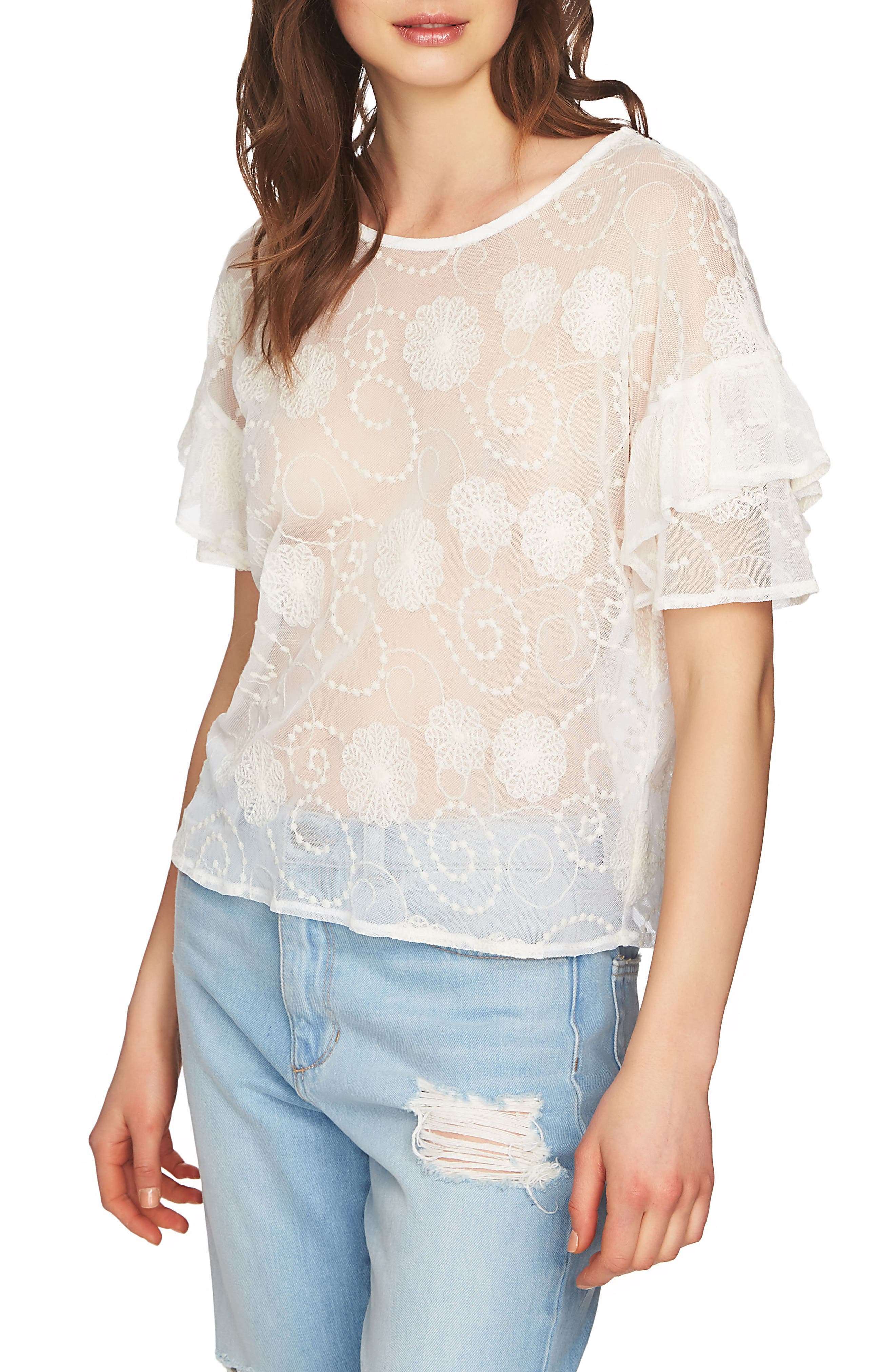 Embroidered Ruffle Sleeve Top,                             Main thumbnail 3, color,
