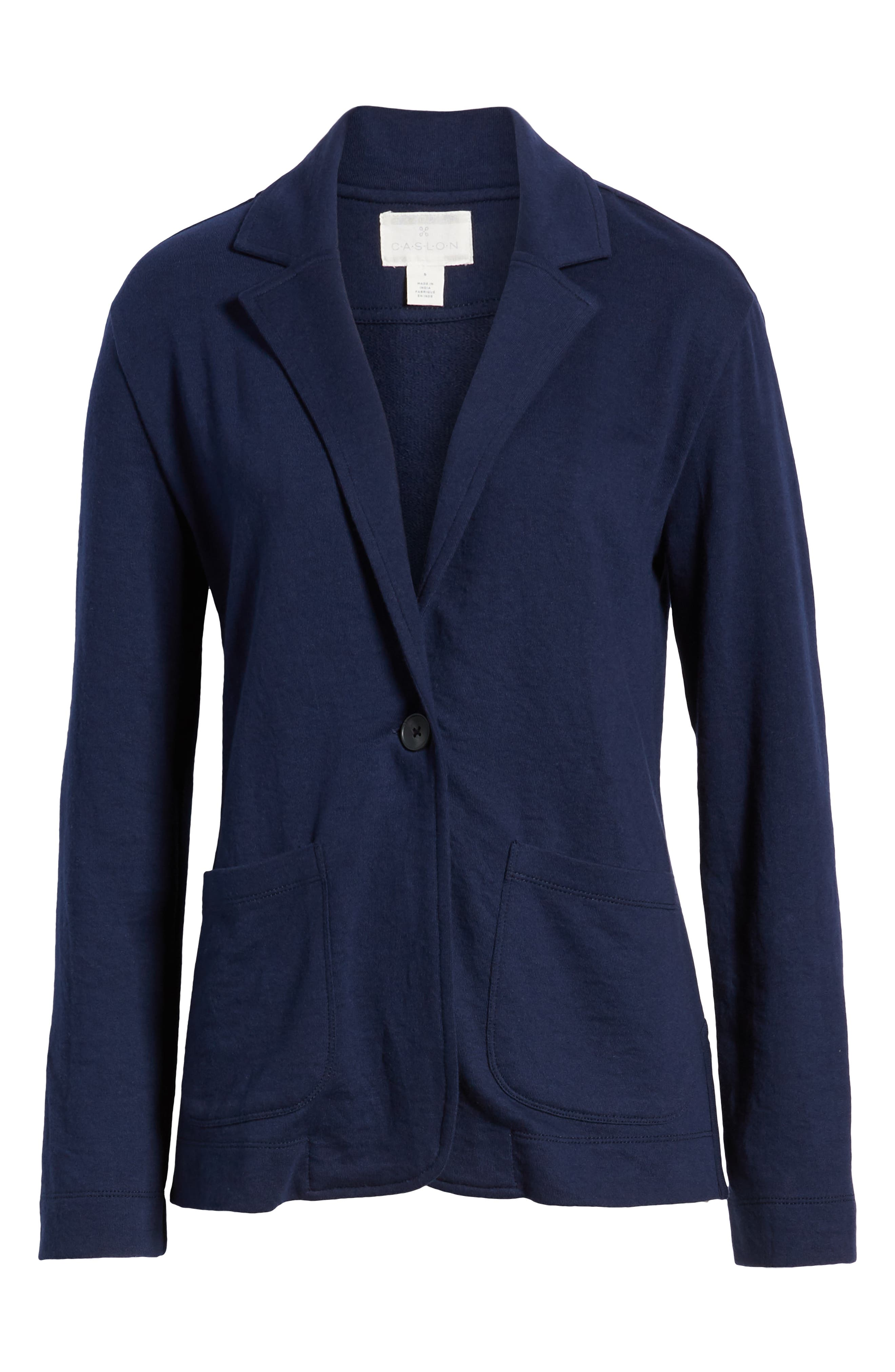 CASLON<SUP>®</SUP>,                             Two Pocket Knit Blazer,                             Alternate thumbnail 6, color,                             NAVY PEACOAT