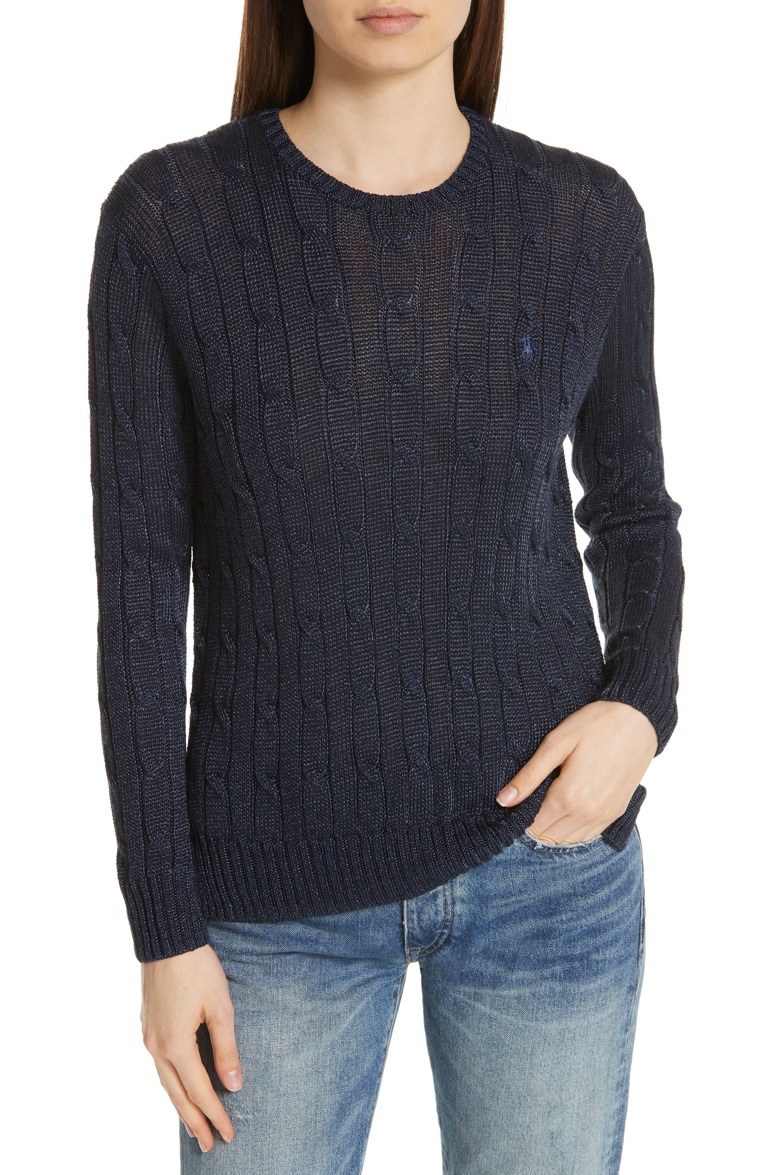 Cable Sweater,                         Main,                         color, NAVY METALLIC
