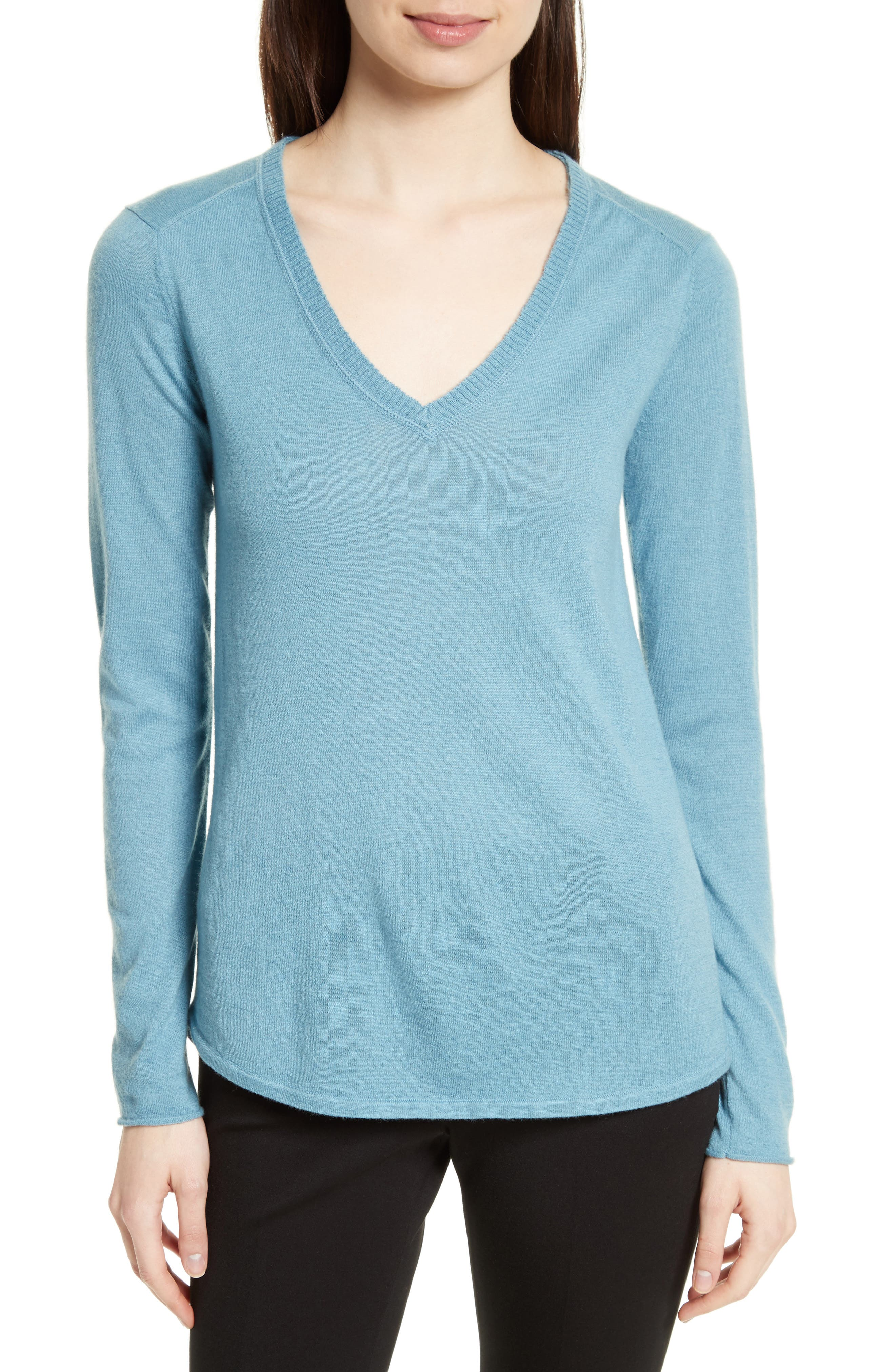 Raw Edge Cashmere Sweater,                         Main,                         color, 455