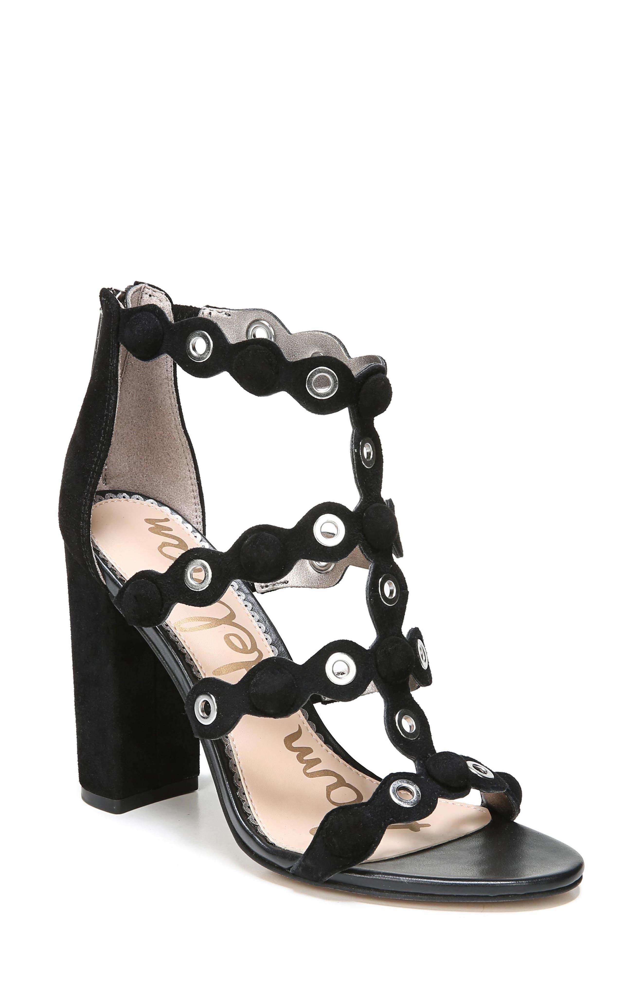 Yuli Grommet Sandal,                         Main,                         color, BLACK LEATHER
