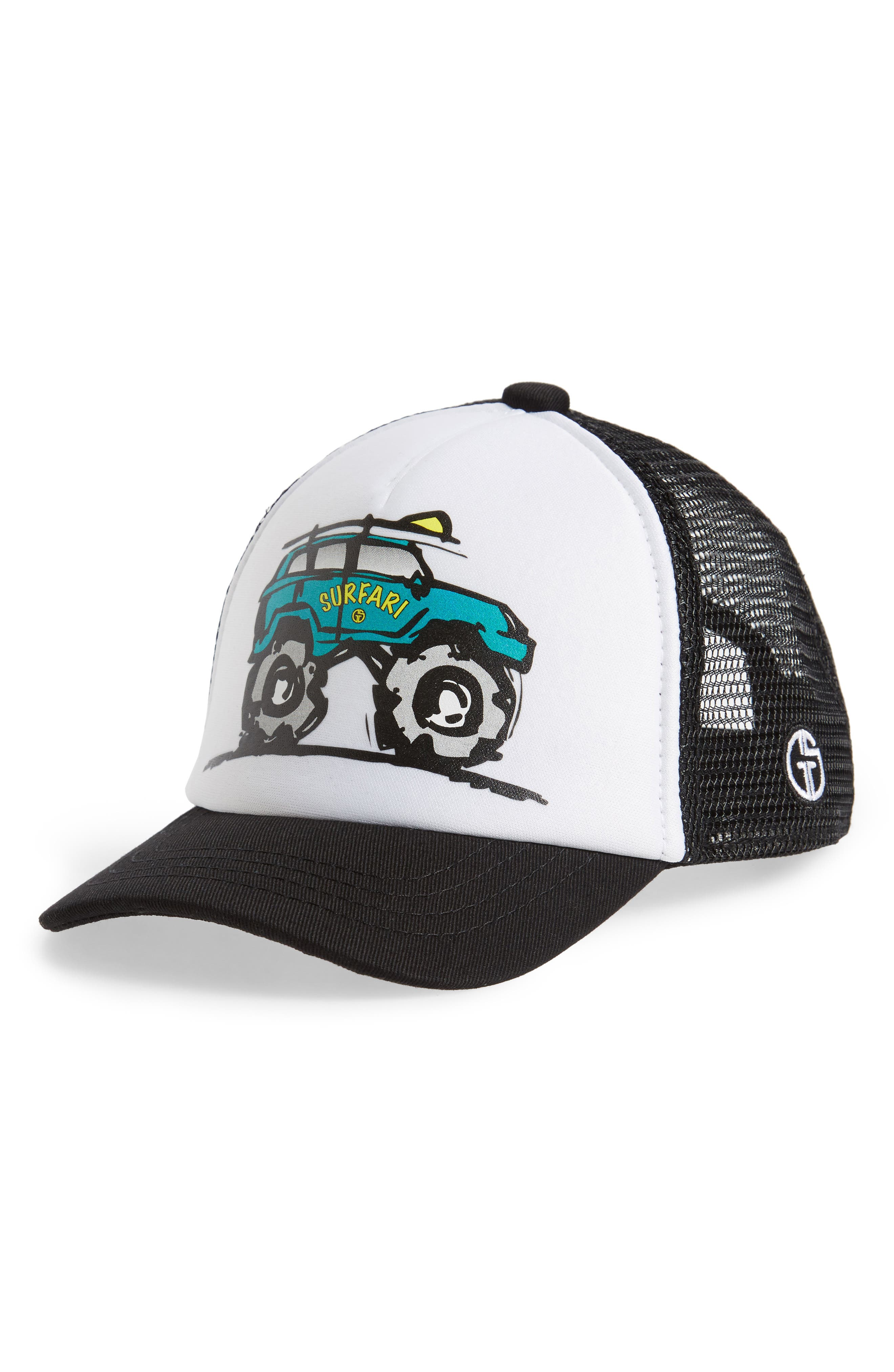 Surfari Trucker Hat,                         Main,                         color, BLACK/ WHITE