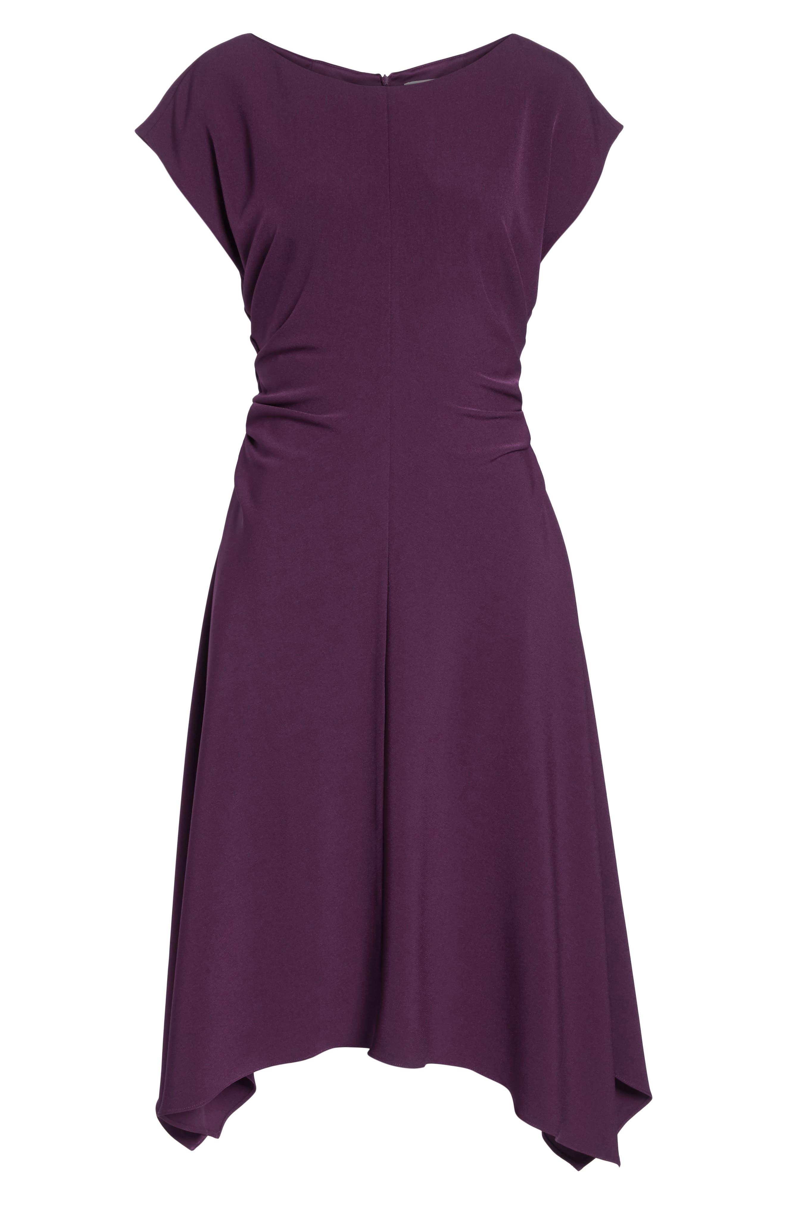JULIA JORDAN,                             Ruched Stretch Crepe Fit & Flare Dress,                             Alternate thumbnail 8, color,                             PLUM