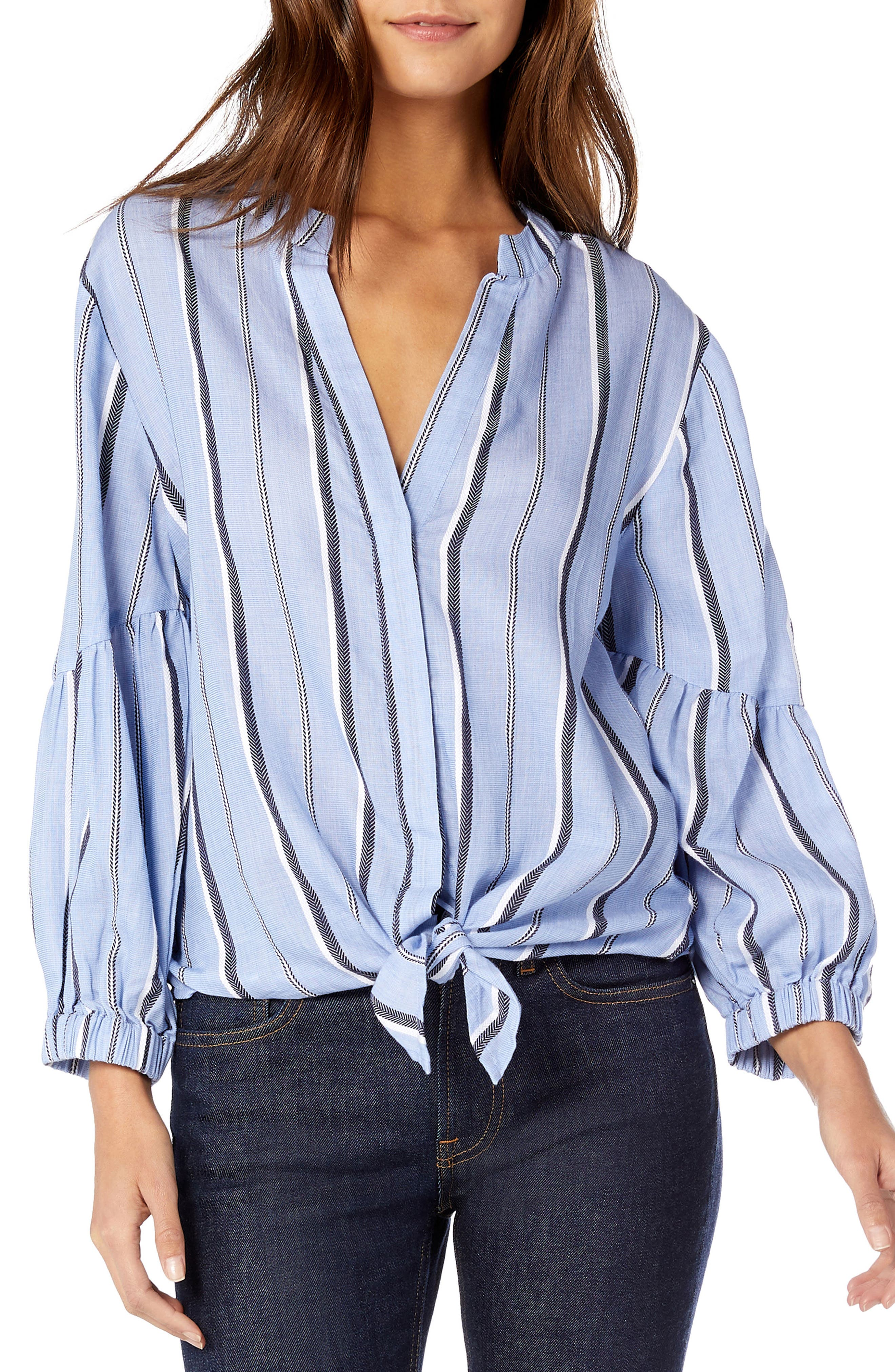 Stripe Shirting Tie Front Cotton Blouse,                             Main thumbnail 1, color,                             STREAM