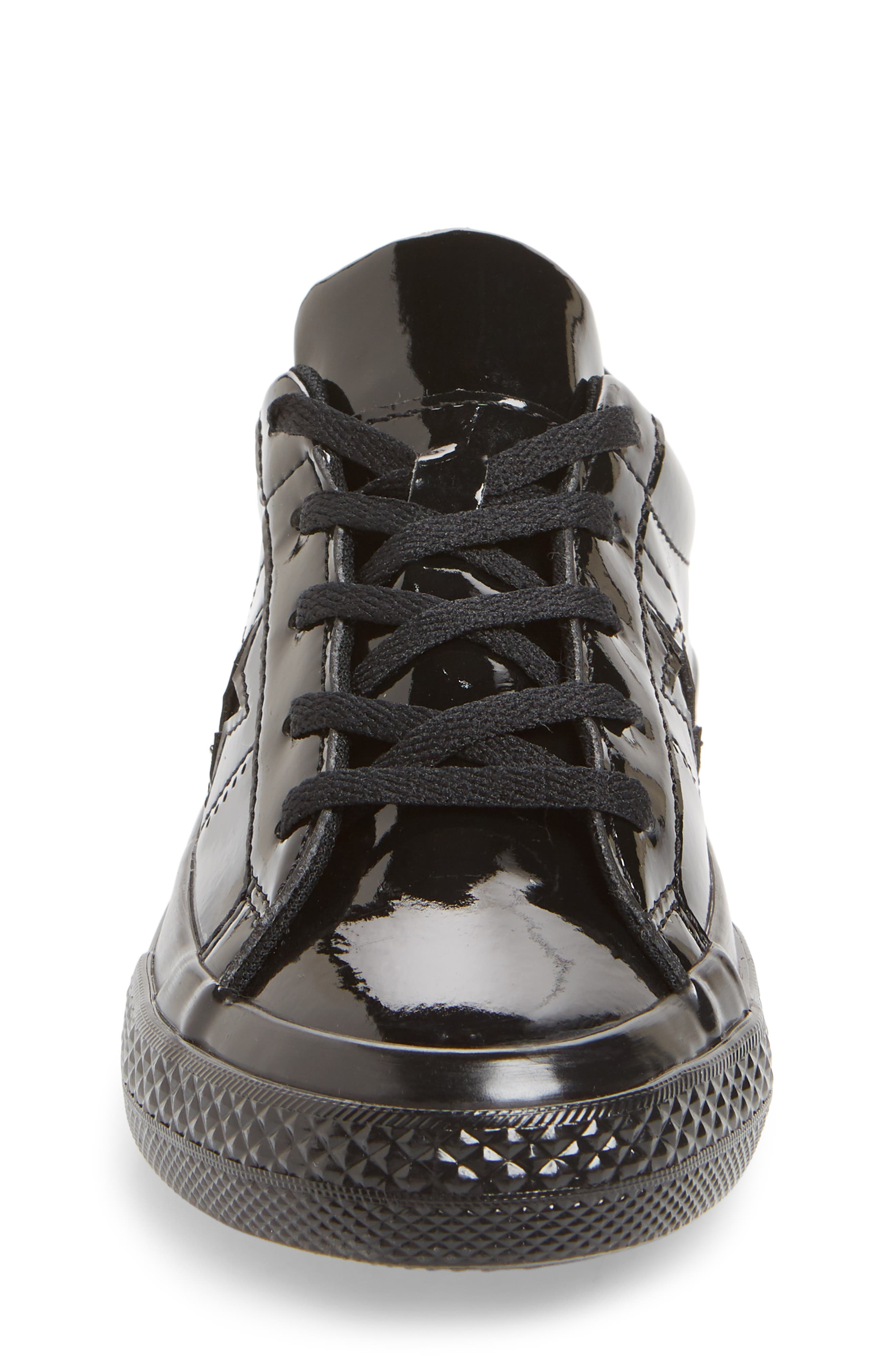 CONVERSE,                             One Star<sup>®</sup> Patent '90s Sneaker,                             Alternate thumbnail 4, color,                             BLACK