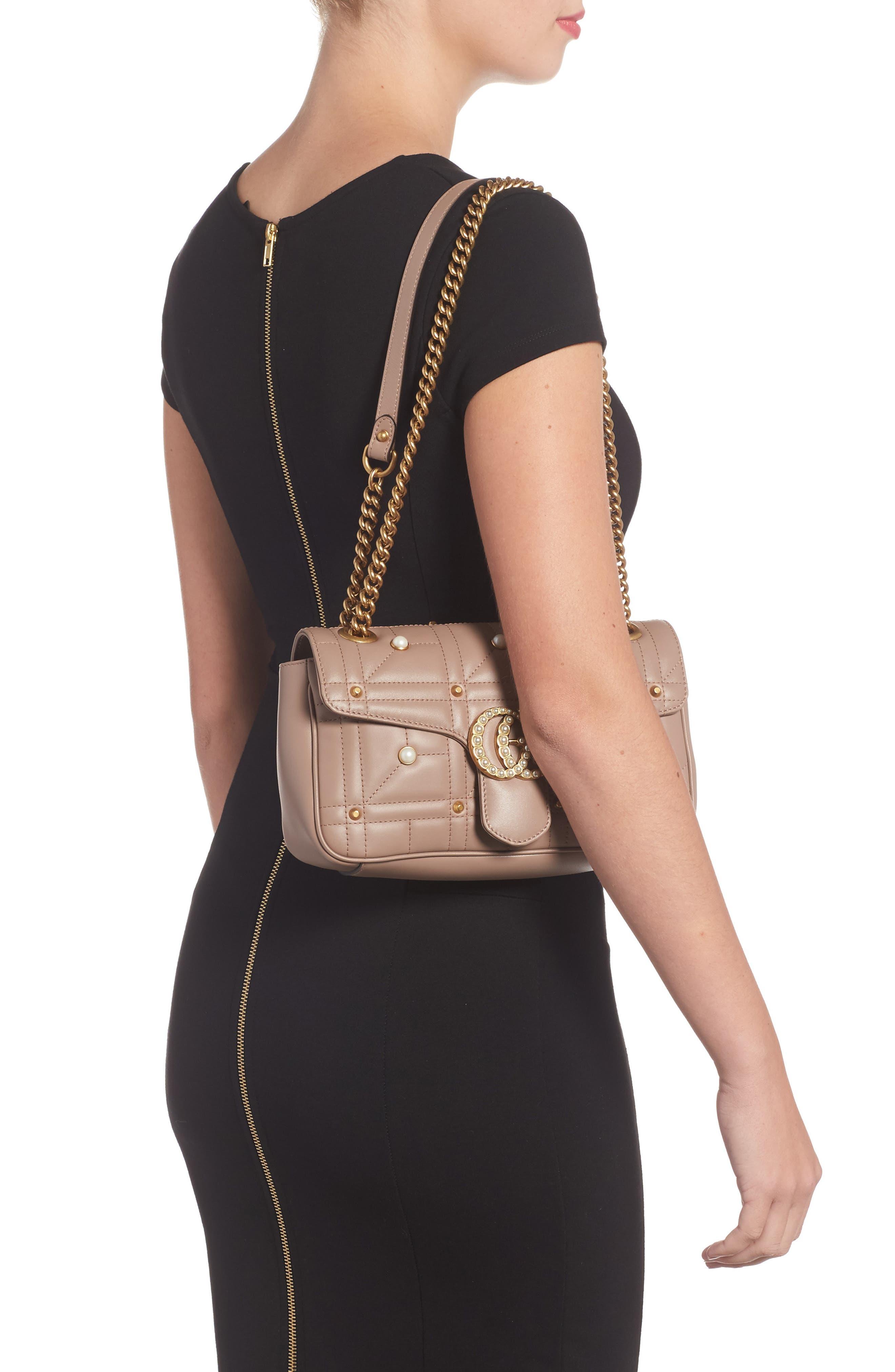 GG Marmont Matelassé Imitation Pearl Leather Shoulder Bag,                             Alternate thumbnail 4, color,