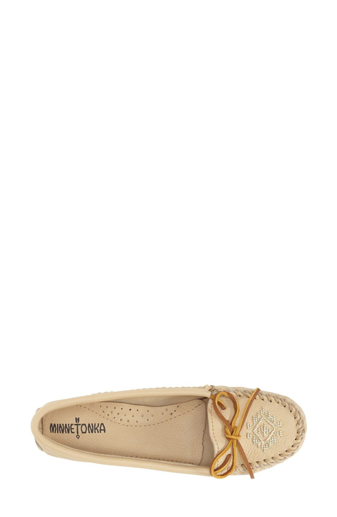 Beaded Moccasin,                             Alternate thumbnail 3, color,                             CHAMPAGNE DEERSKIN LEATHER