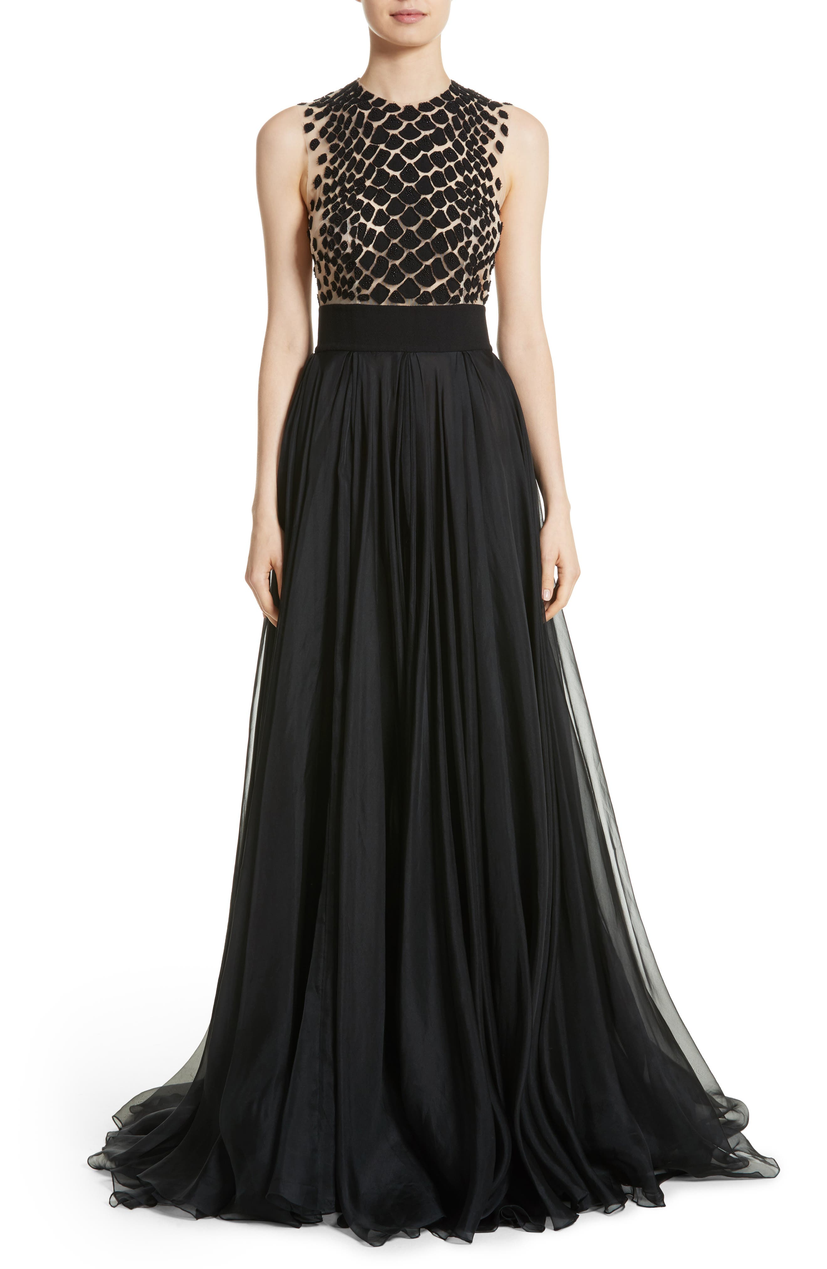 Carmen Marc Valvo Embroidered Organza Gown,                             Main thumbnail 1, color,                             BLACK