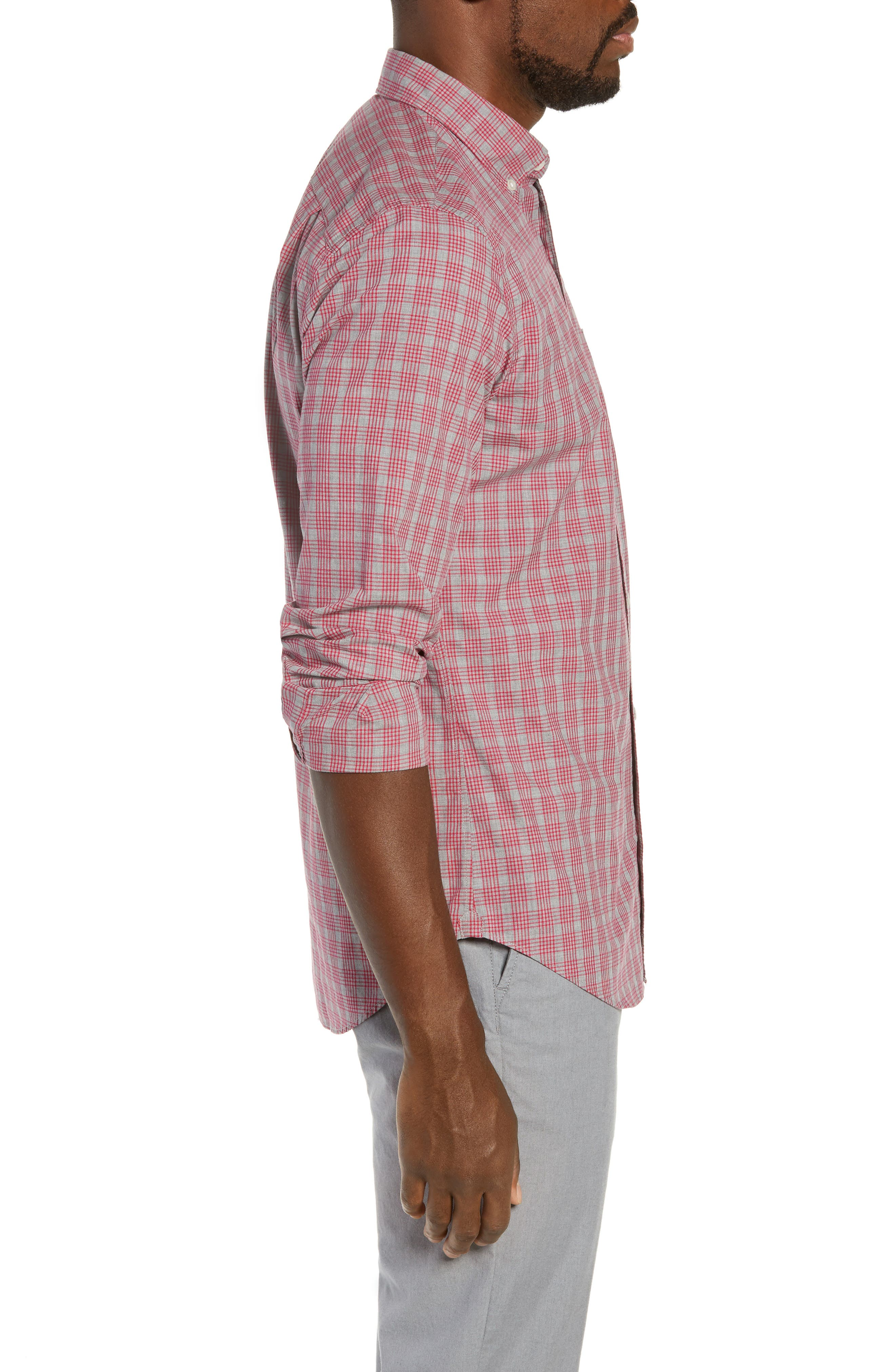 Washed Button Down Slim Fit Check Sport Shirt,                             Alternate thumbnail 4, color,                             MATTHEW CHECK - CERISE