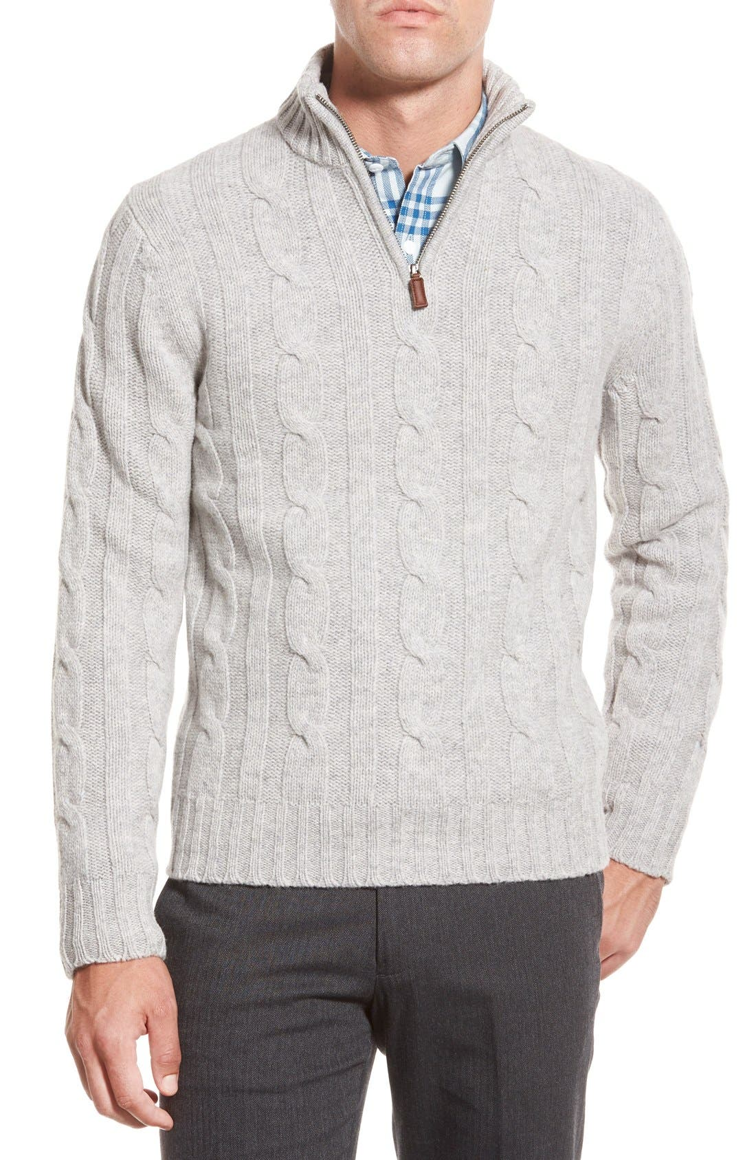 Cable Knit Quarter Zip Pullover Sweater, Main, color, 020
