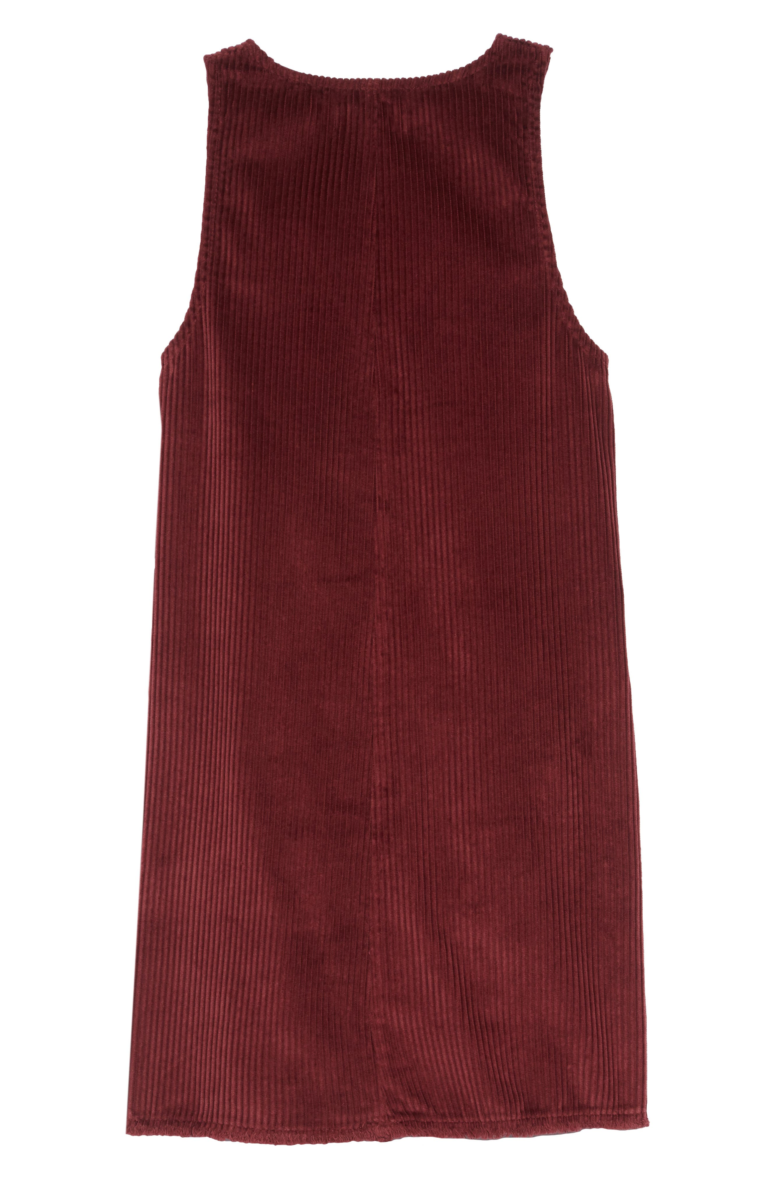 Corduroy Jumper Dress,                             Alternate thumbnail 2, color,                             RED TANNIN