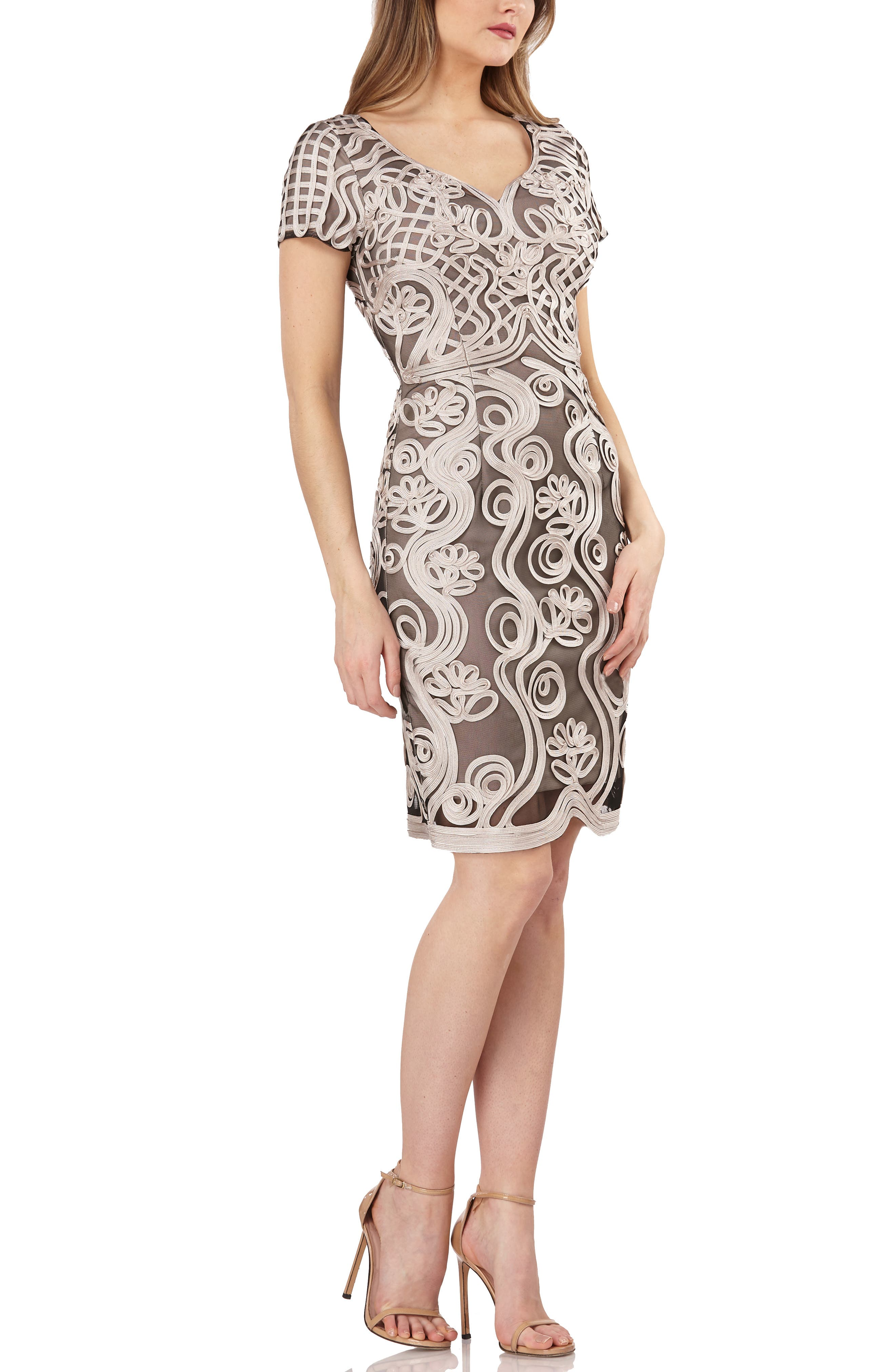 Js Collections Soutache Mesh Sheath Dress, Brown