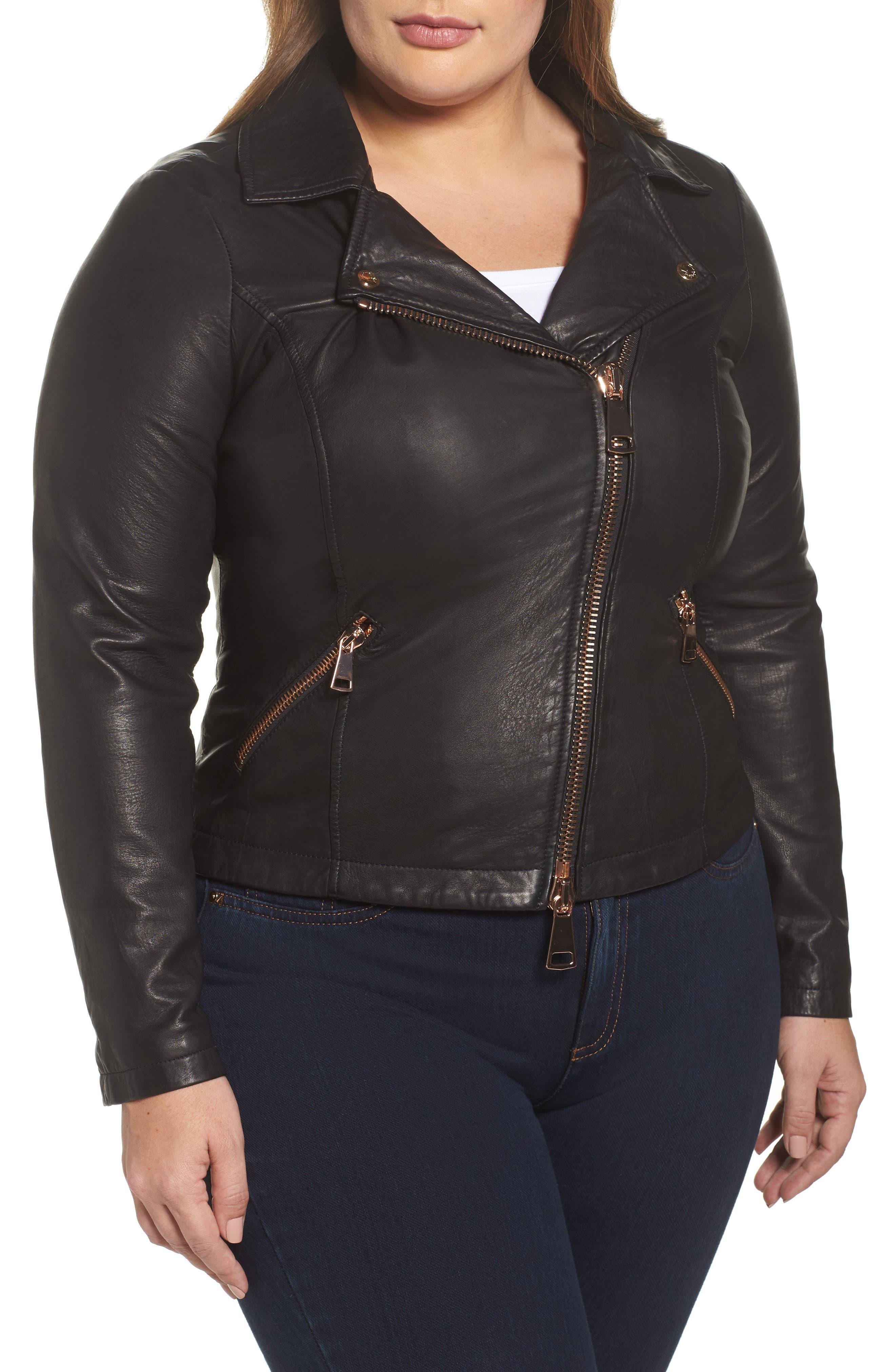 Ebanista Leather Biker Jacket,                             Alternate thumbnail 4, color,                             001