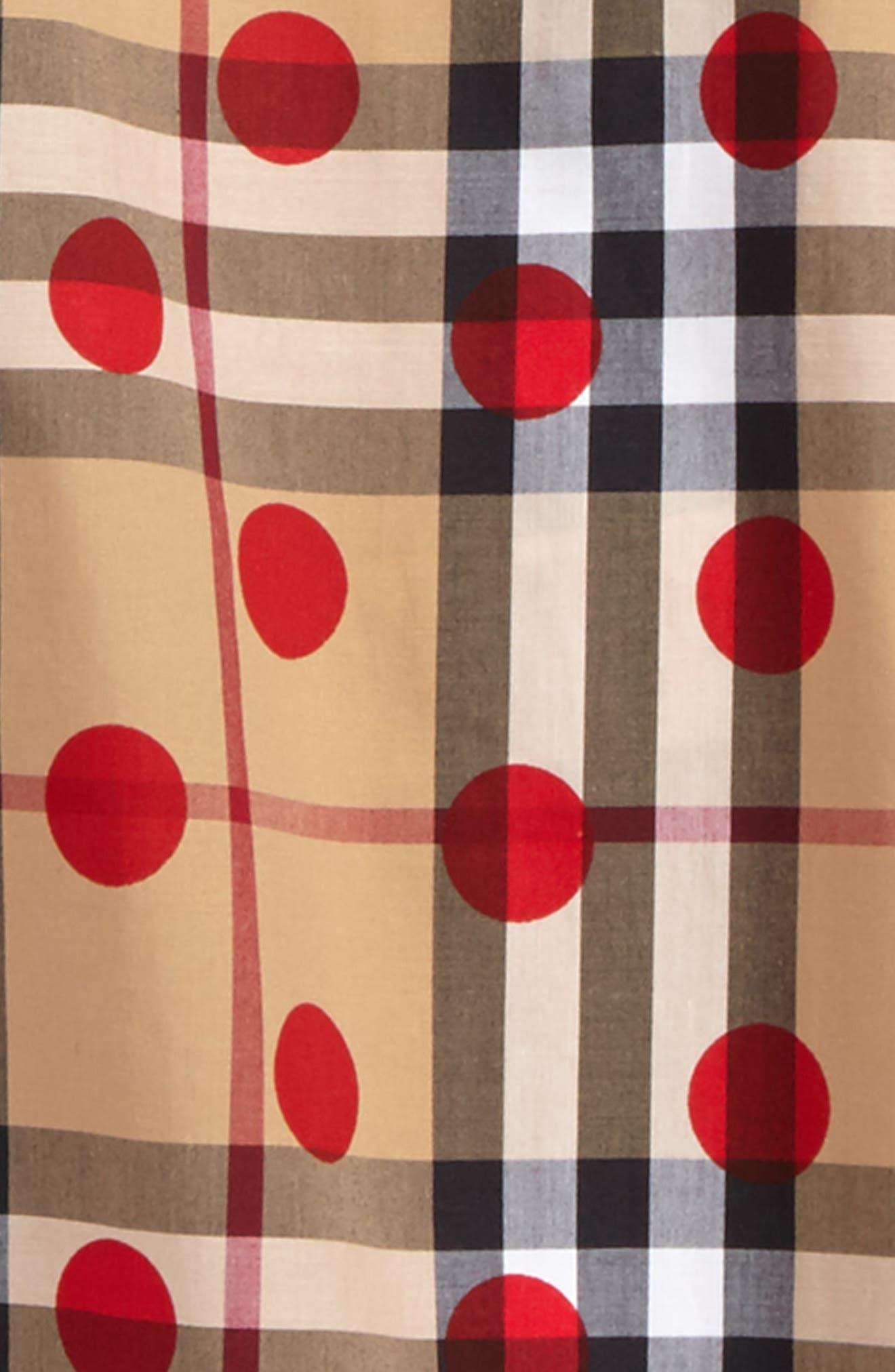 Haleena Polka Dot & Check Print Top,                             Alternate thumbnail 3, color,                             604