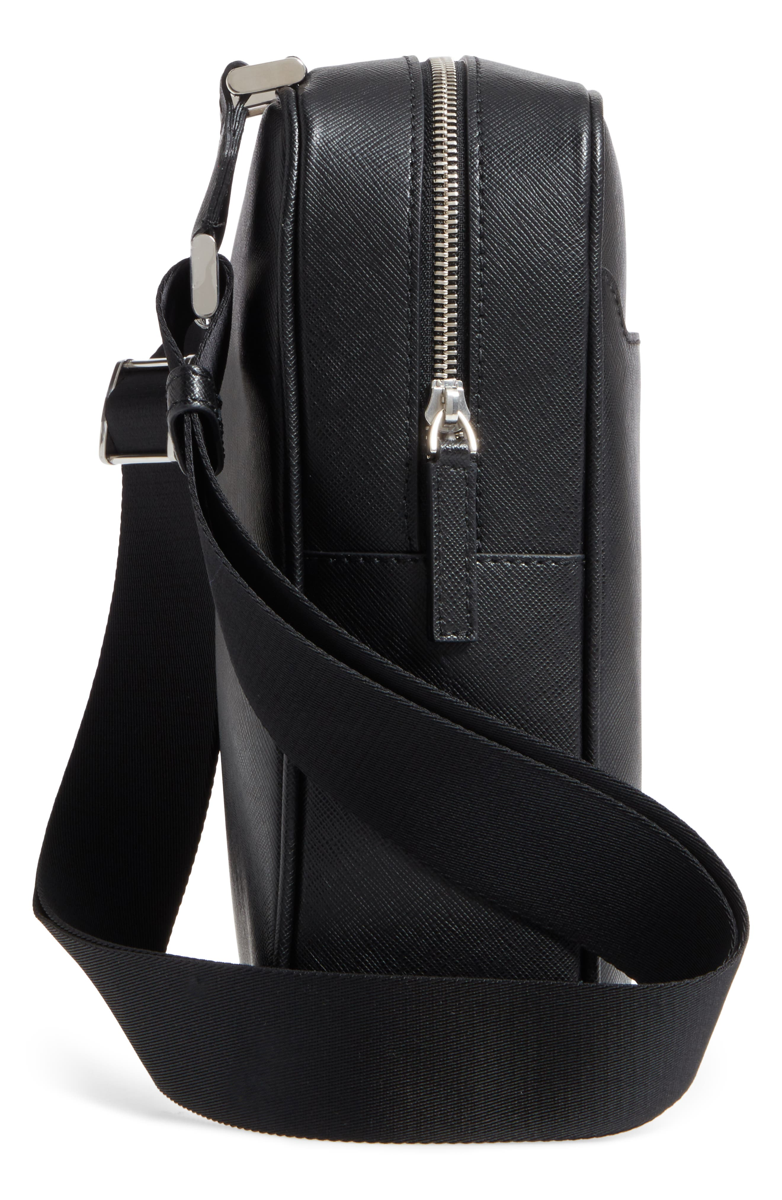 Sartorial North South Leather Bag,                             Alternate thumbnail 5, color,                             001