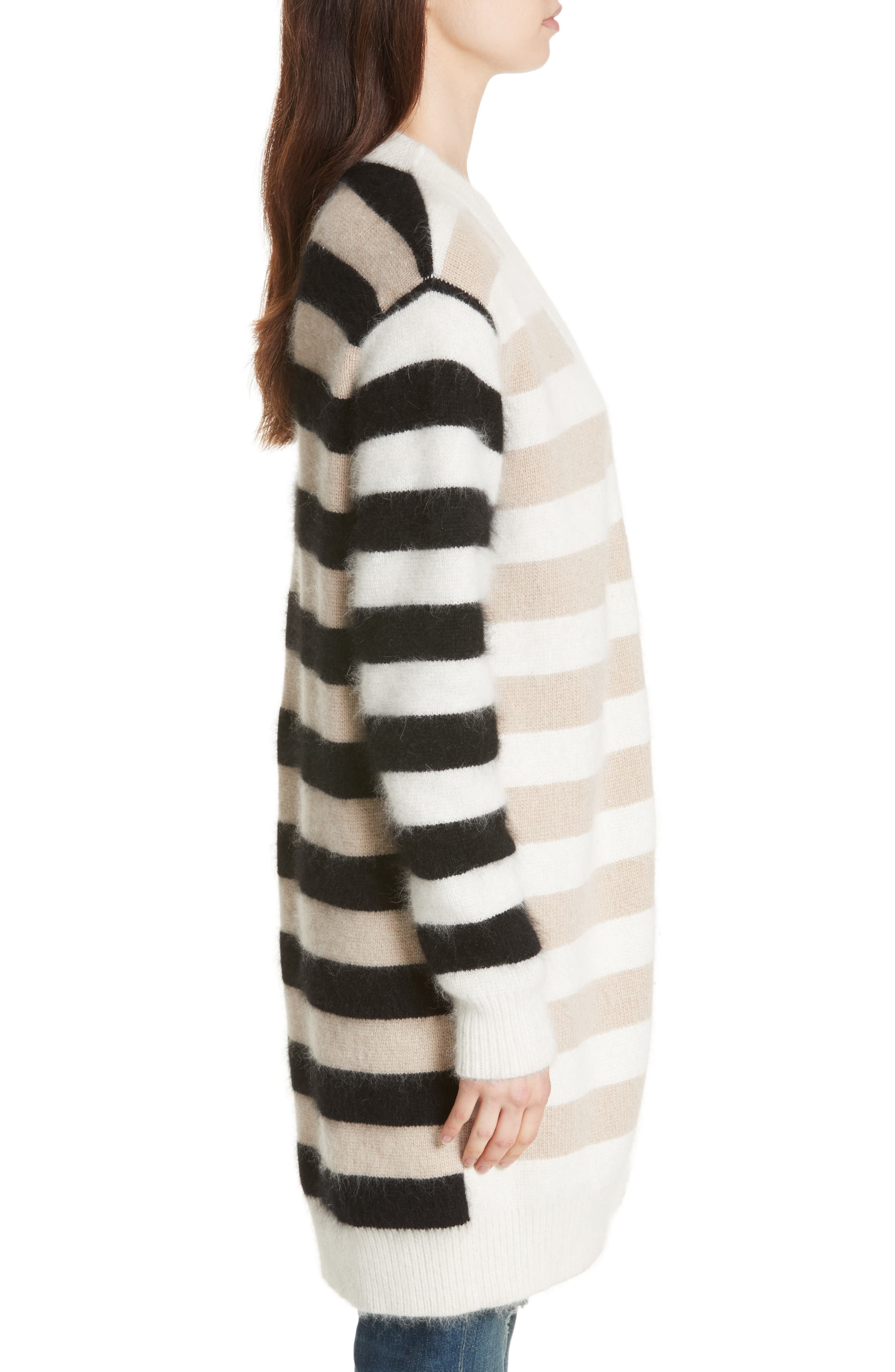 Stripe Oversize Cardigan,                             Alternate thumbnail 3, color,                             001