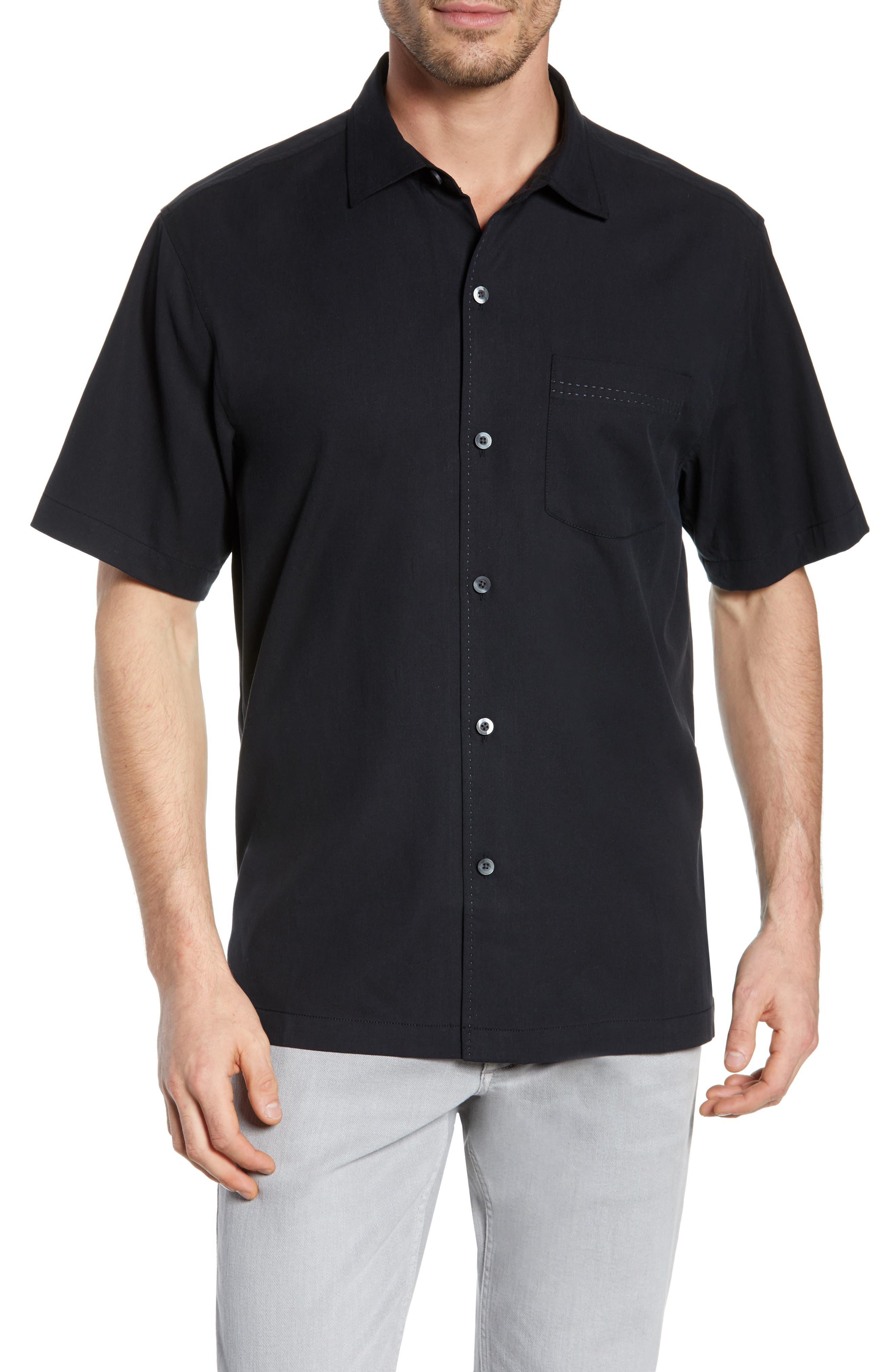Catalina Stretch Silk Blend Camp Shirt,                             Main thumbnail 1, color,                             BLACK