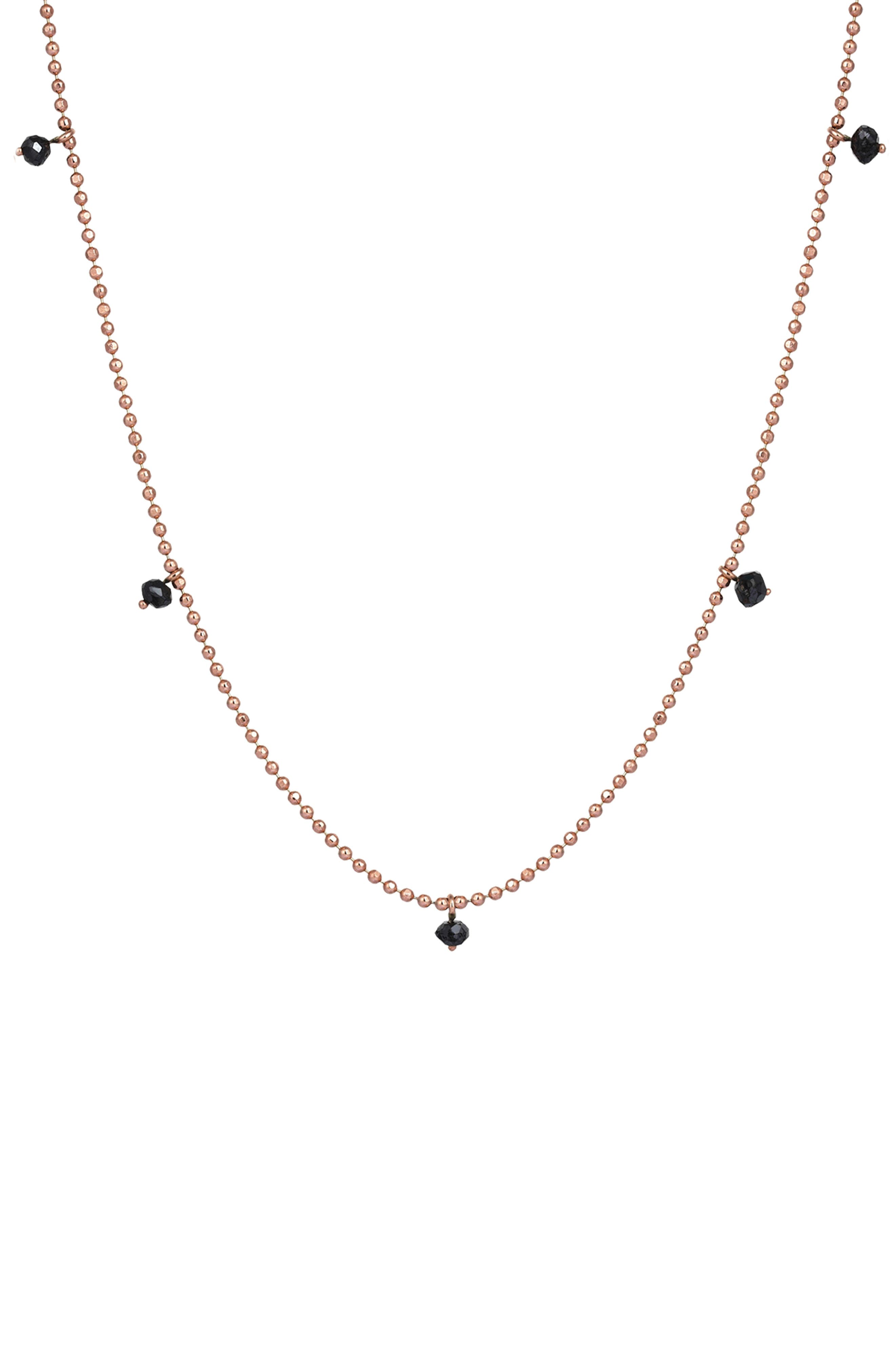 Black Diamond Pendant Necklace,                             Main thumbnail 1, color,                             ROSE GOLD