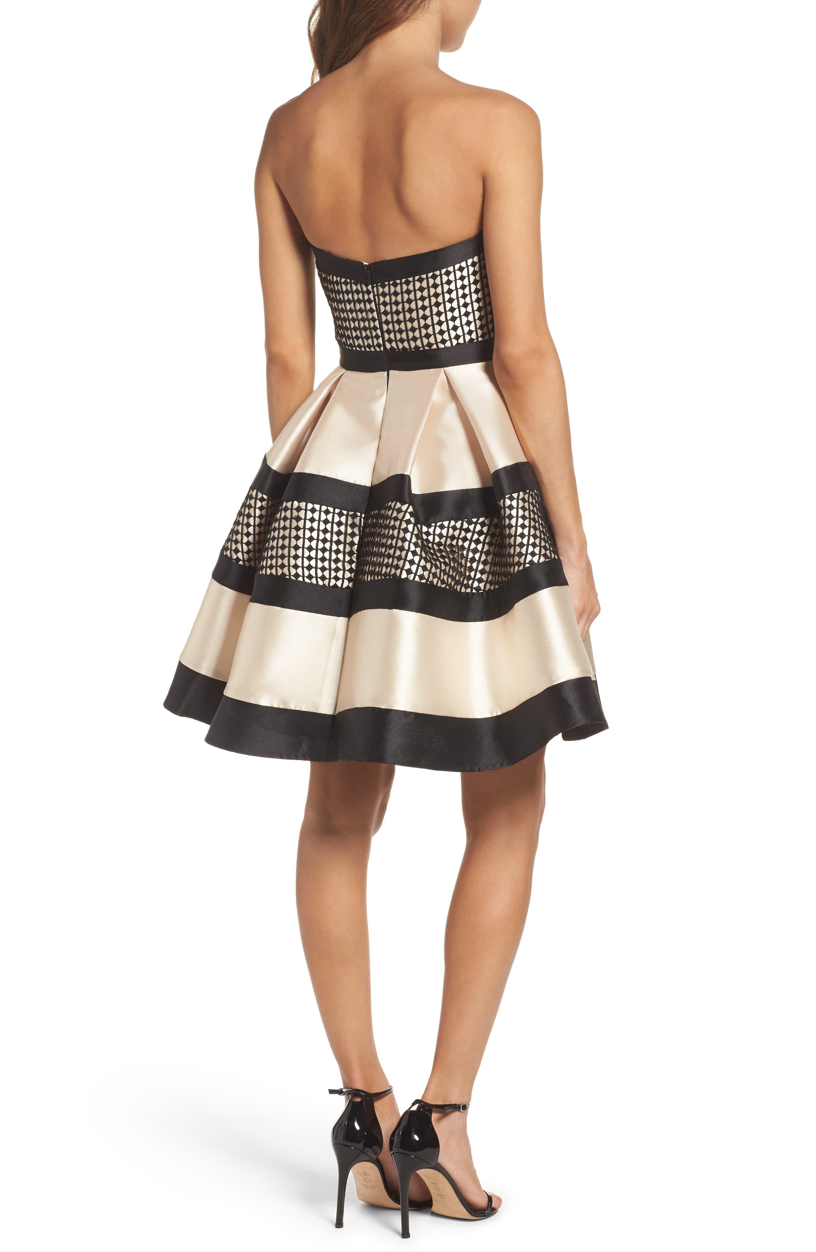Crochet & Satin Fit & Flare Dress,                             Alternate thumbnail 2, color,