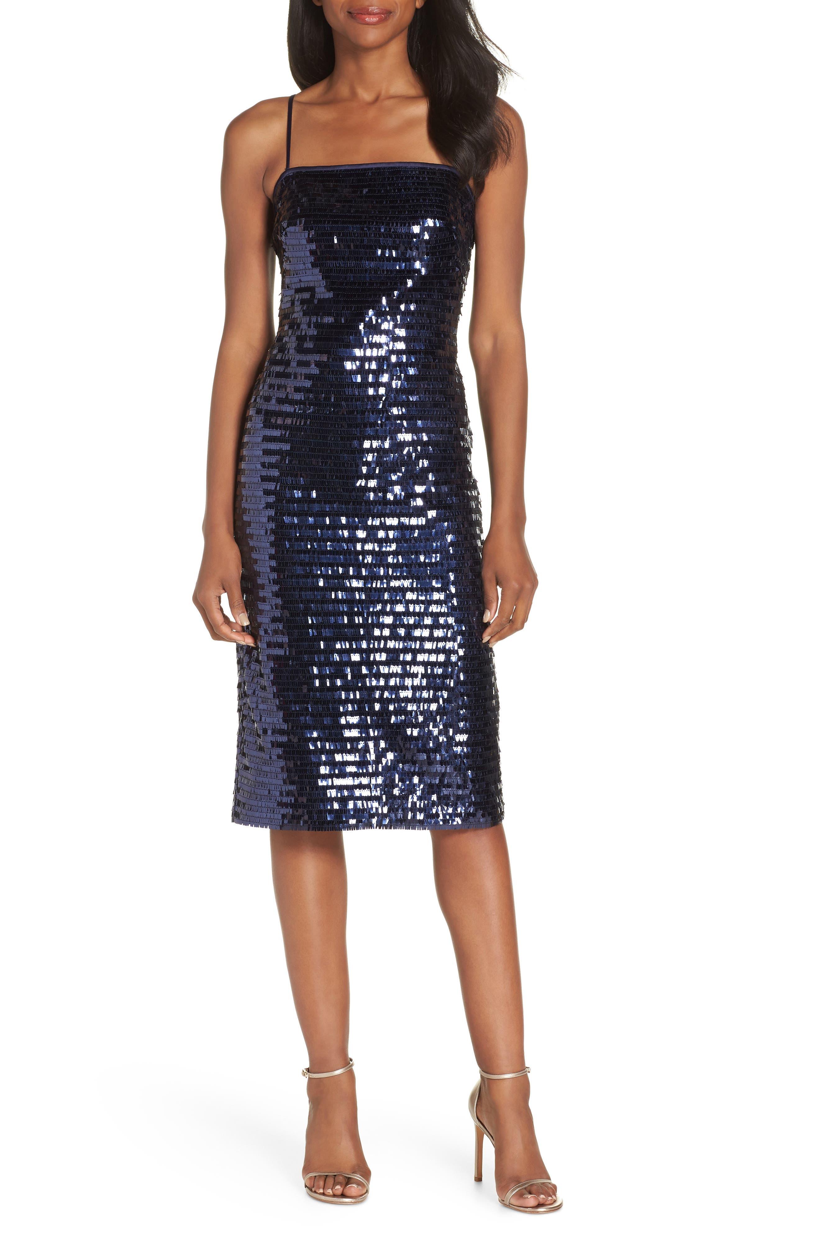 Sequin Sheath Dress,                         Main,                         color, NAVY