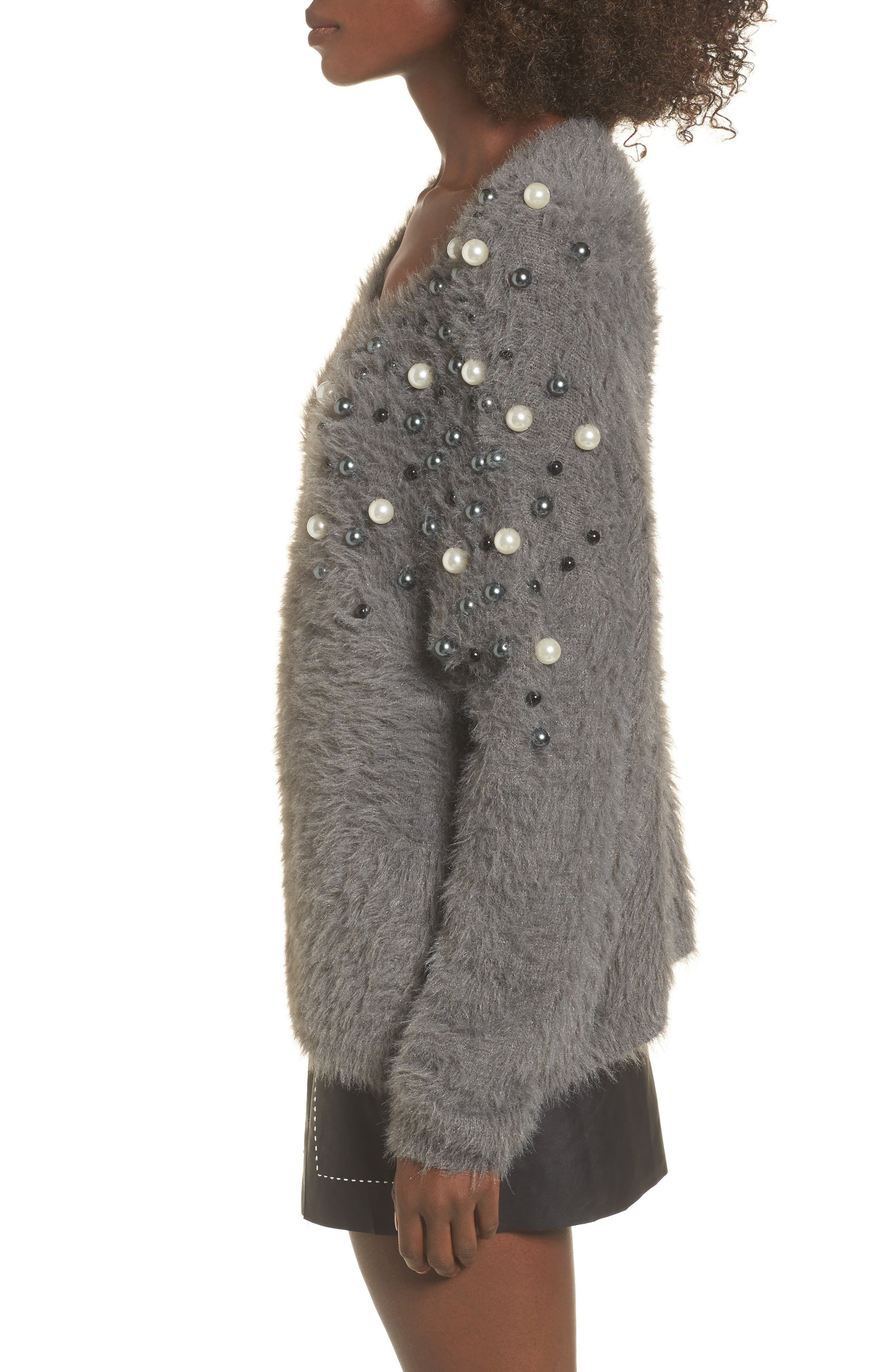 Embellished Faux Fur Sweater,                             Alternate thumbnail 3, color,                             021