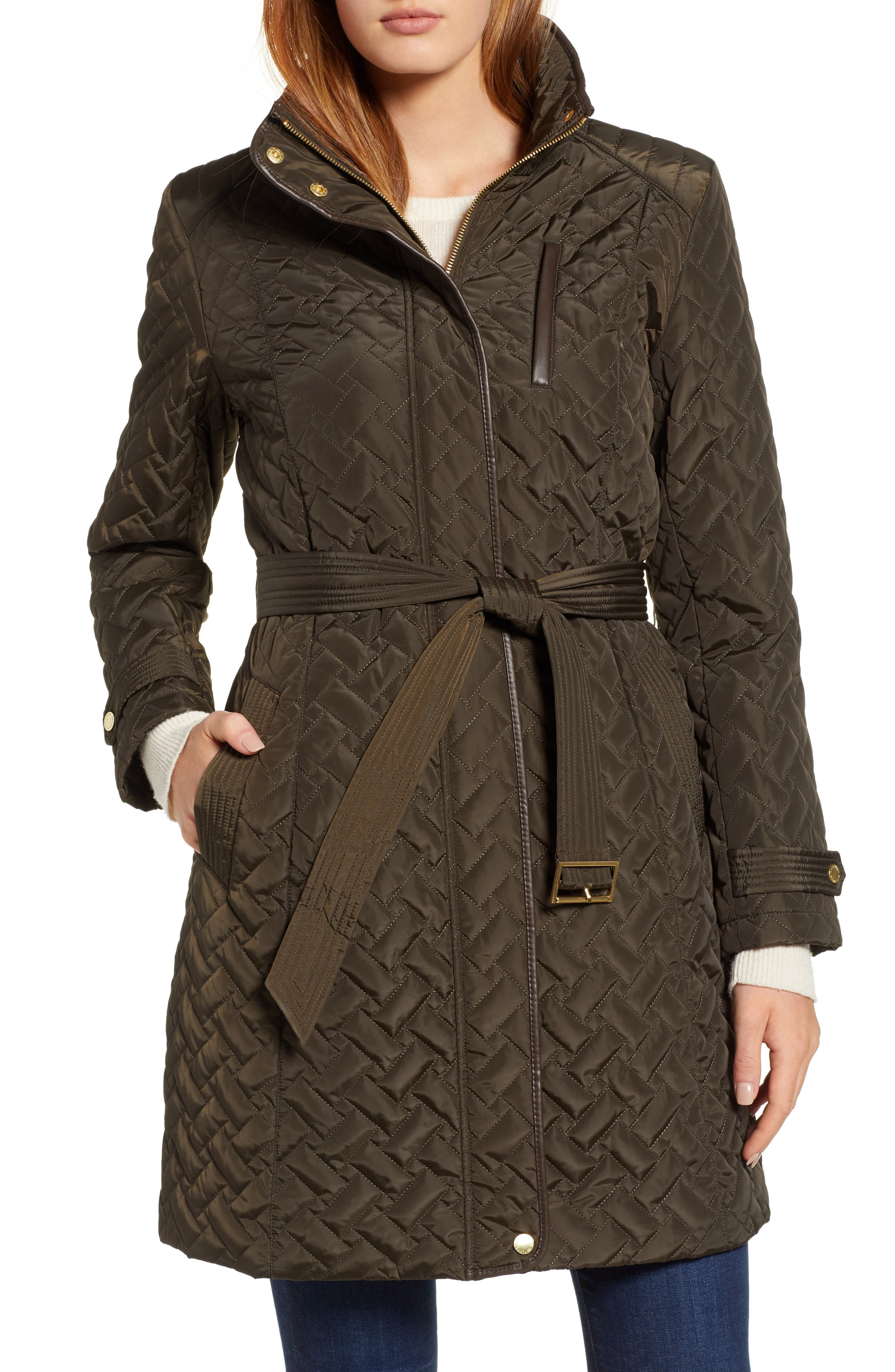 Belted Quilted Coat,                             Main thumbnail 2, color,