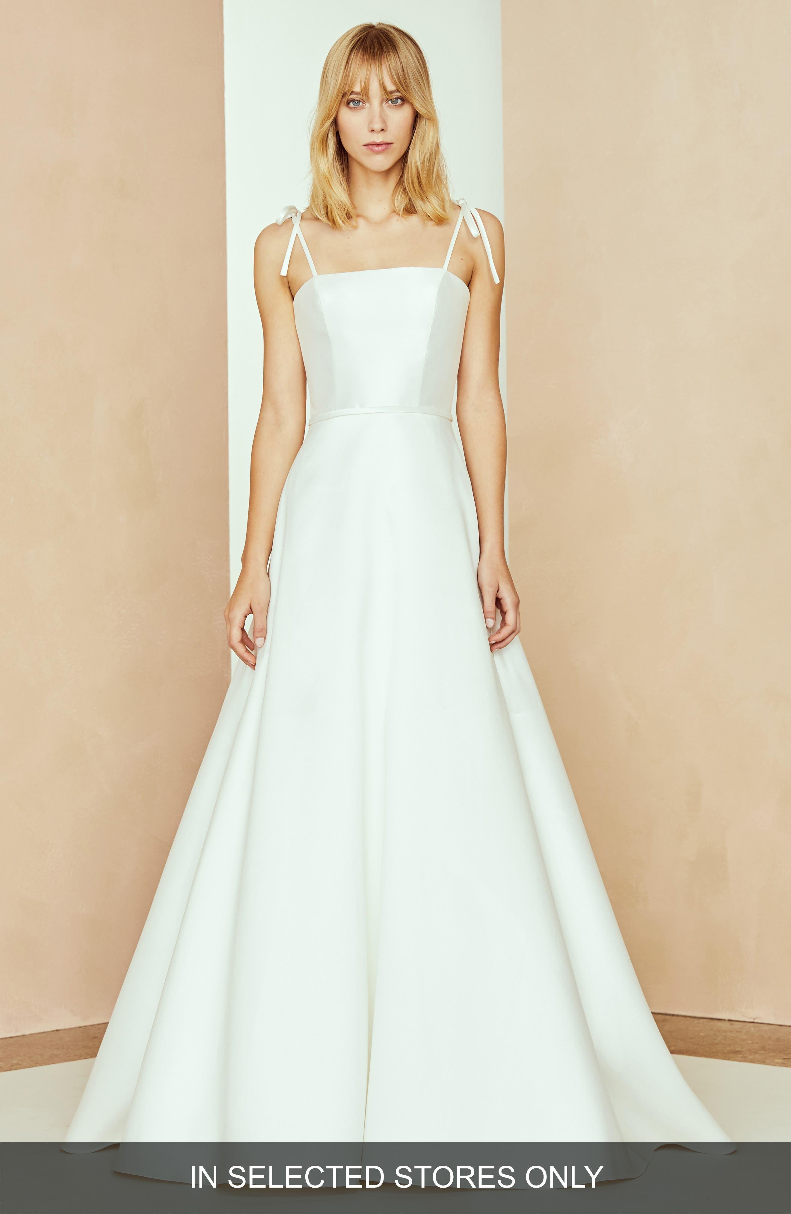 Nouvelle Amsale Kayla Shoulder Bow Dress, Size - Ivory