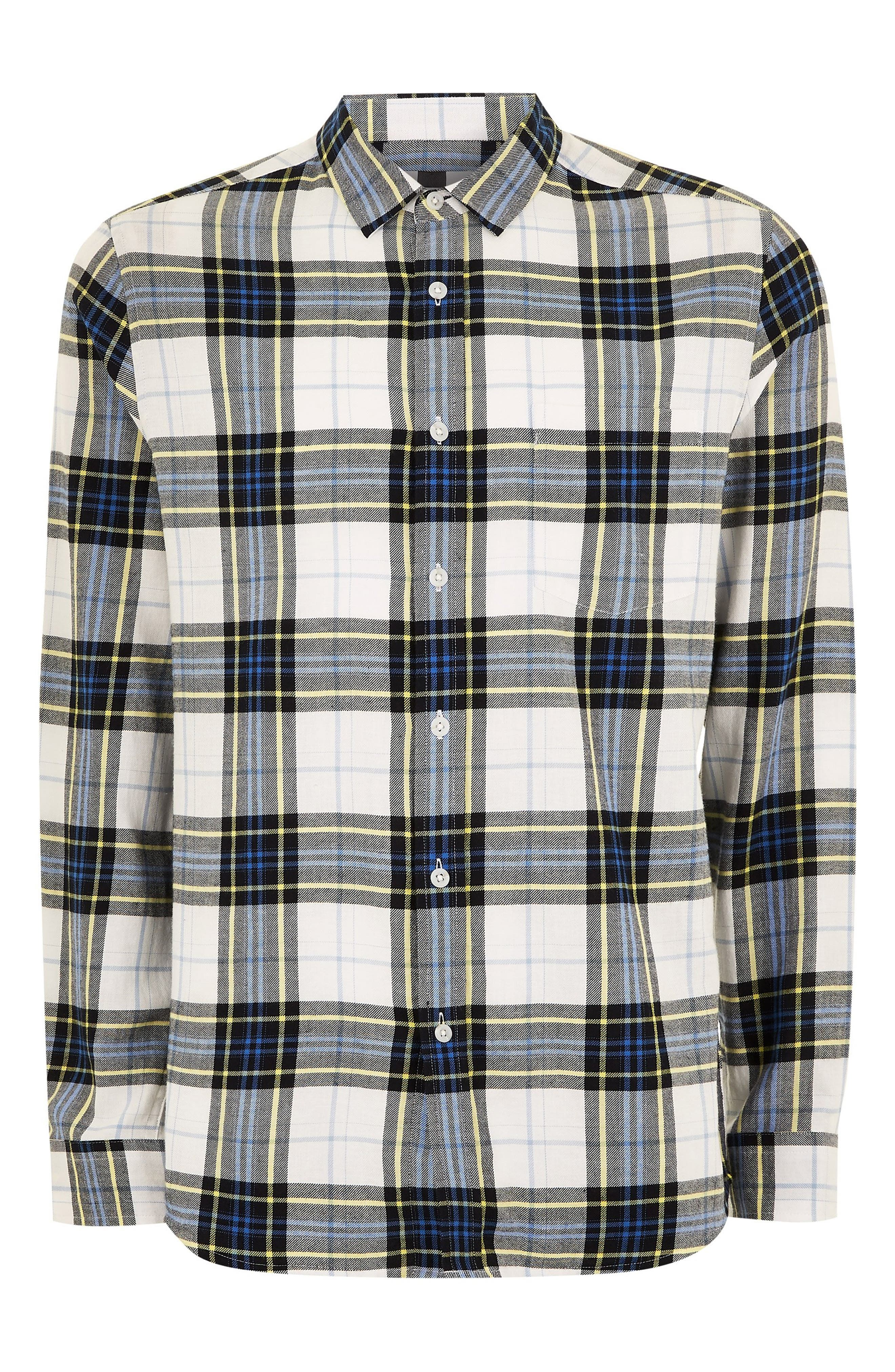 Classic Fit Check Print Woven Shirt,                             Alternate thumbnail 3, color,                             WHITE  MULTI