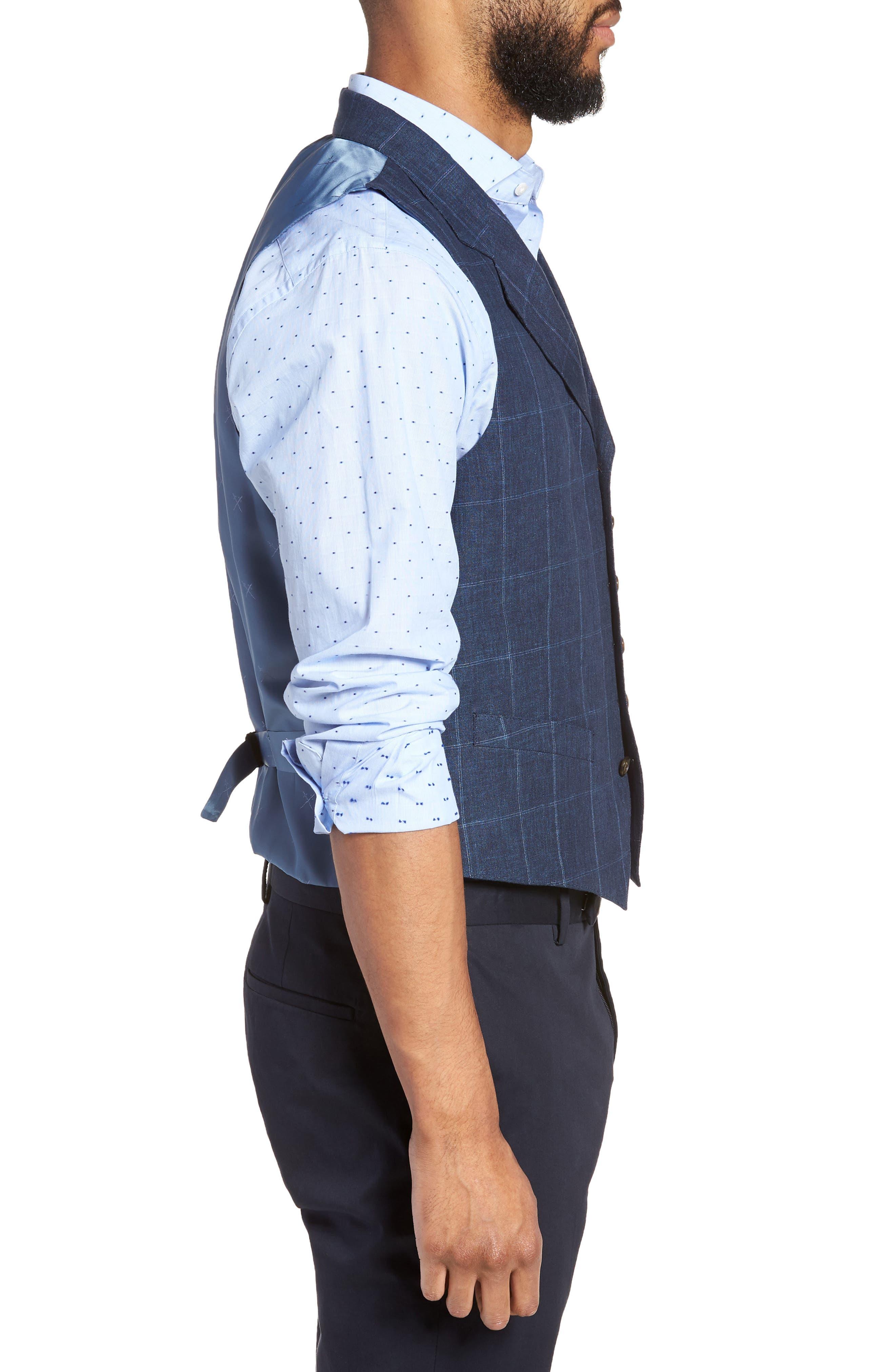 Stag Trim Fit Windowpane Linen Vest,                             Alternate thumbnail 3, color,                             400