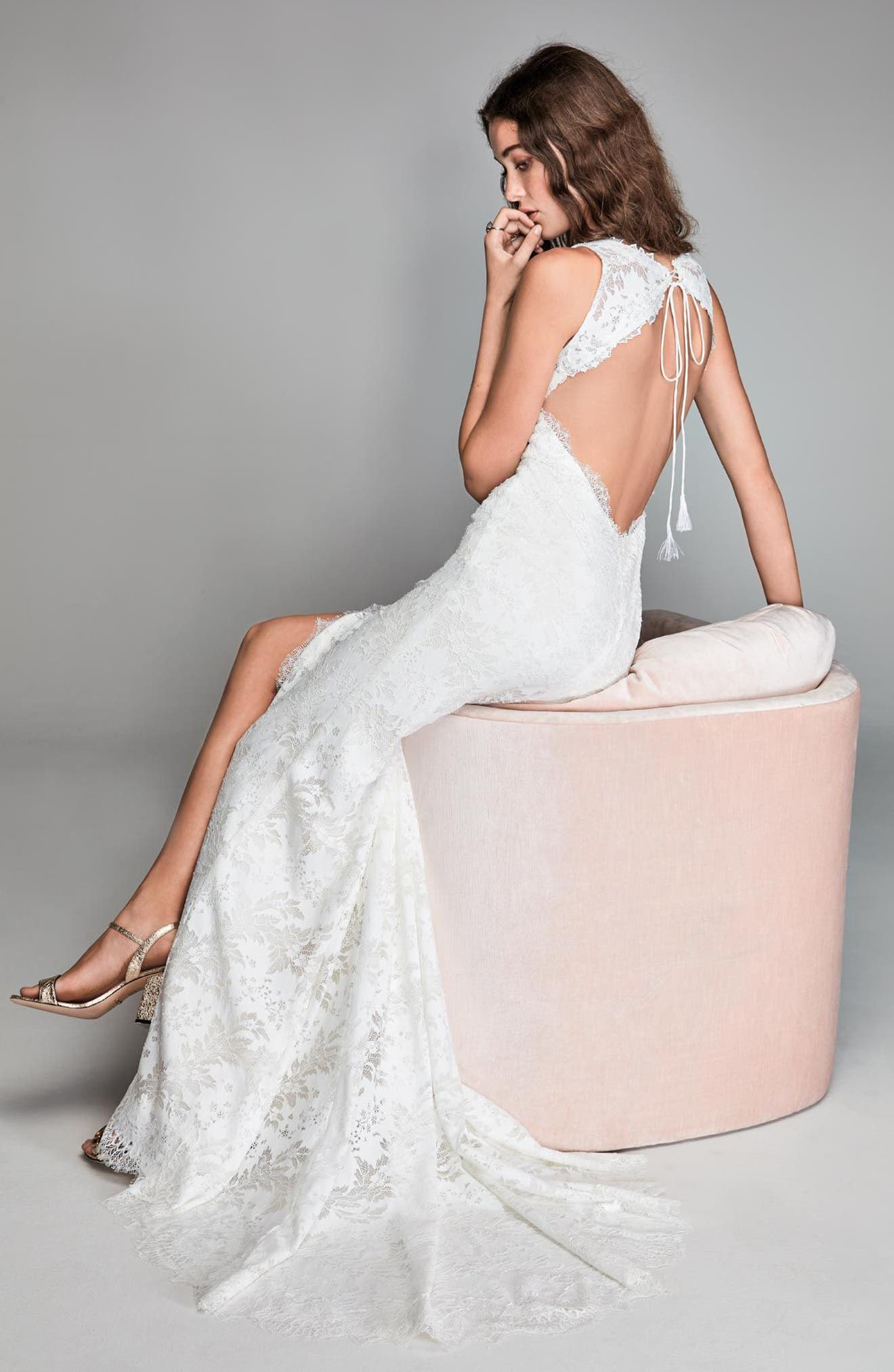 Libra Lace Sheath Gown,                             Alternate thumbnail 3, color,                             IVORY/ OYSTER