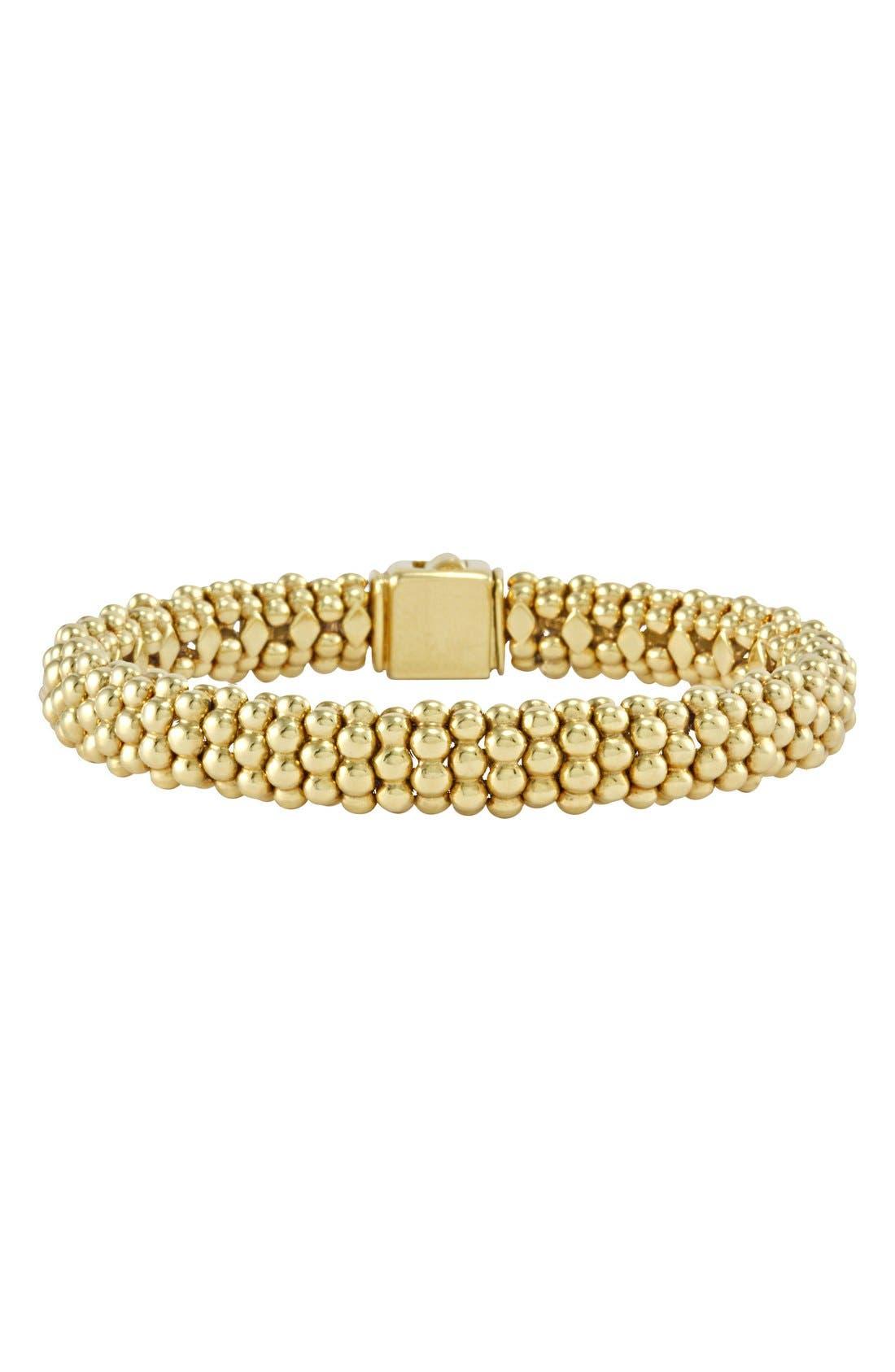 'Caviar Gold' Rope Bracelet,                             Main thumbnail 1, color,                             GOLD