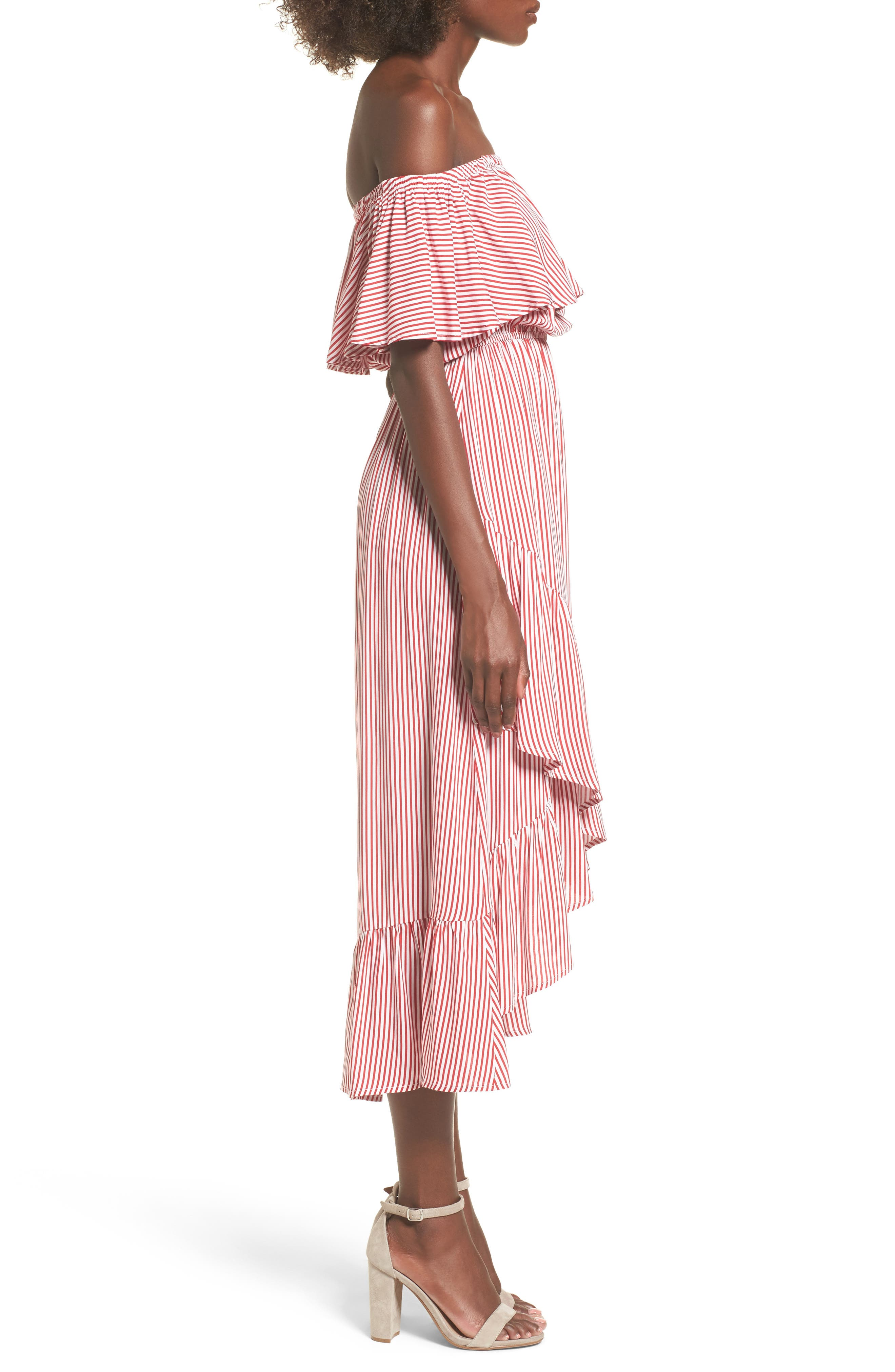 Off the Shoulder High/Low Dress,                             Alternate thumbnail 3, color,                             600