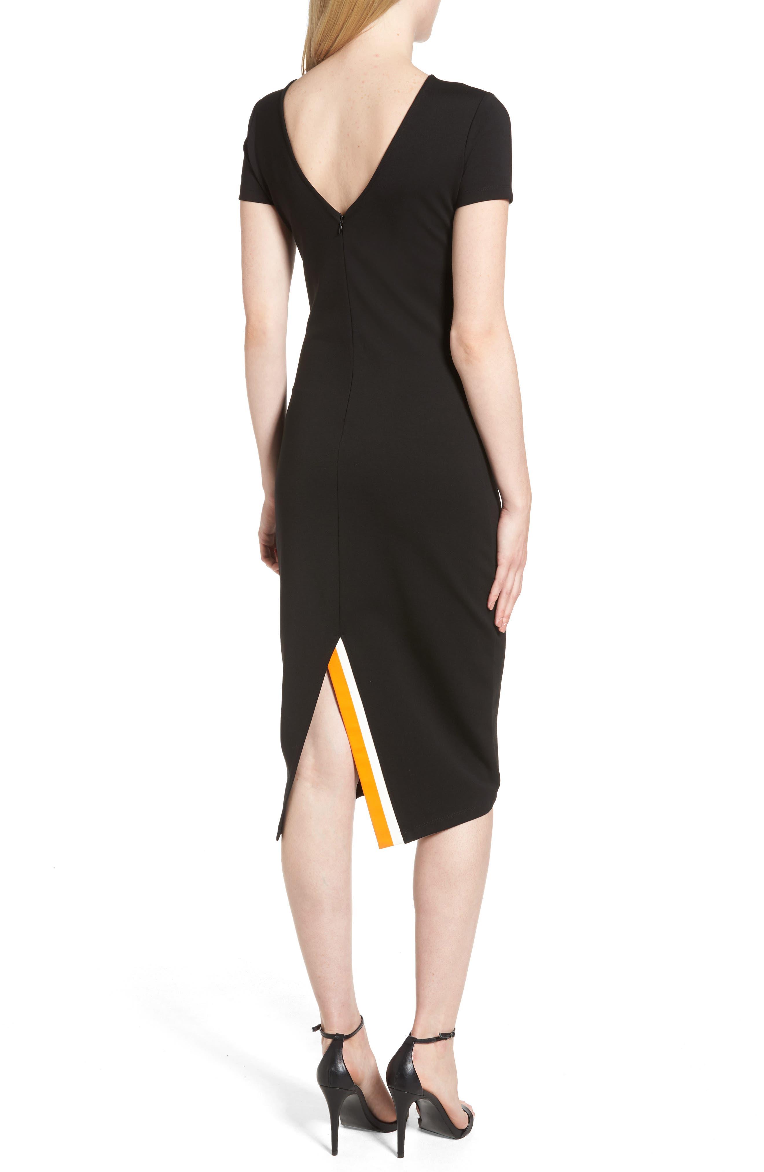 Ponte Sheath Dress,                             Alternate thumbnail 2, color,                             BLACK