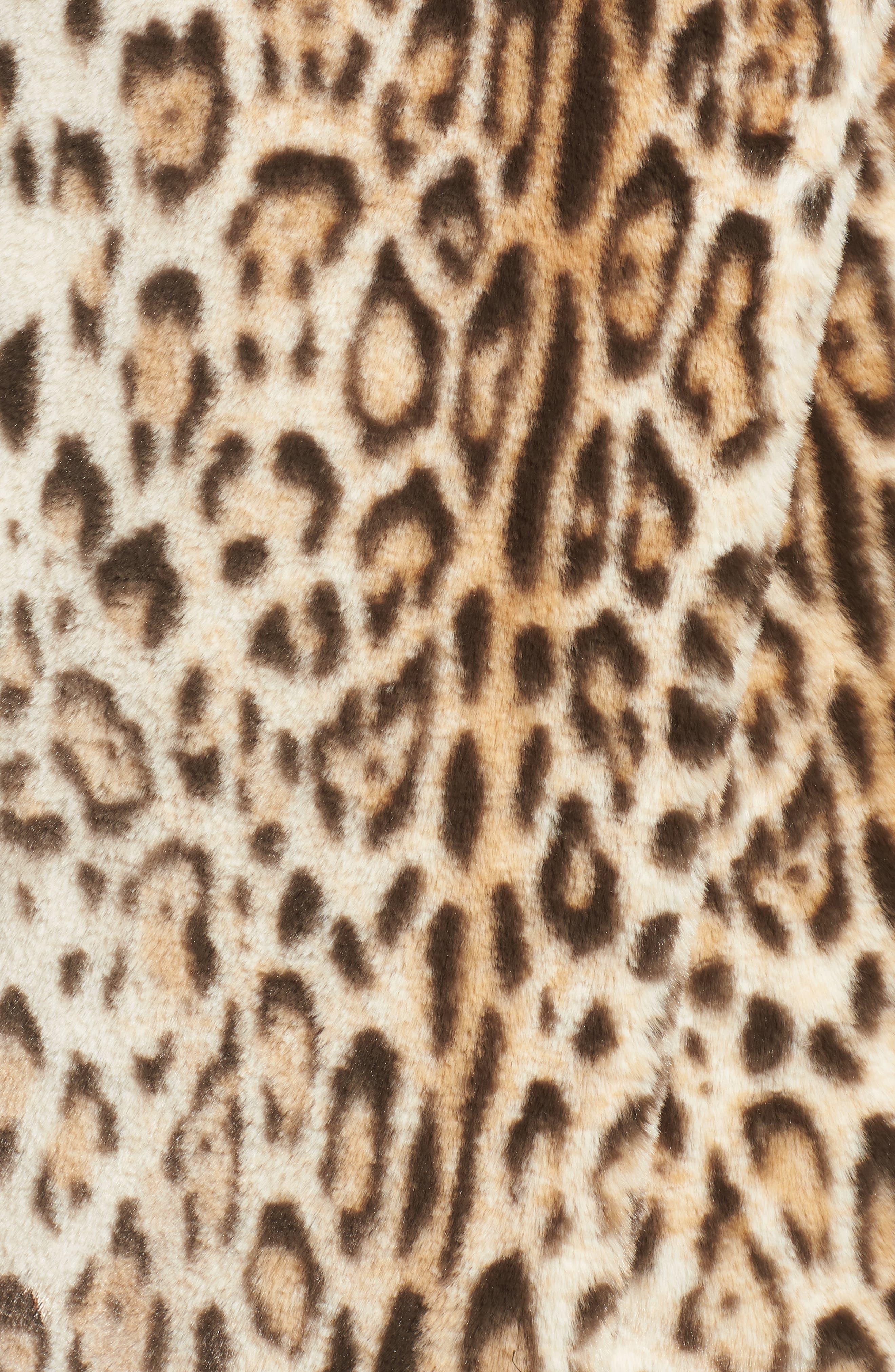 Leopard Faux Fur Jacket,                             Alternate thumbnail 6, color,                             210