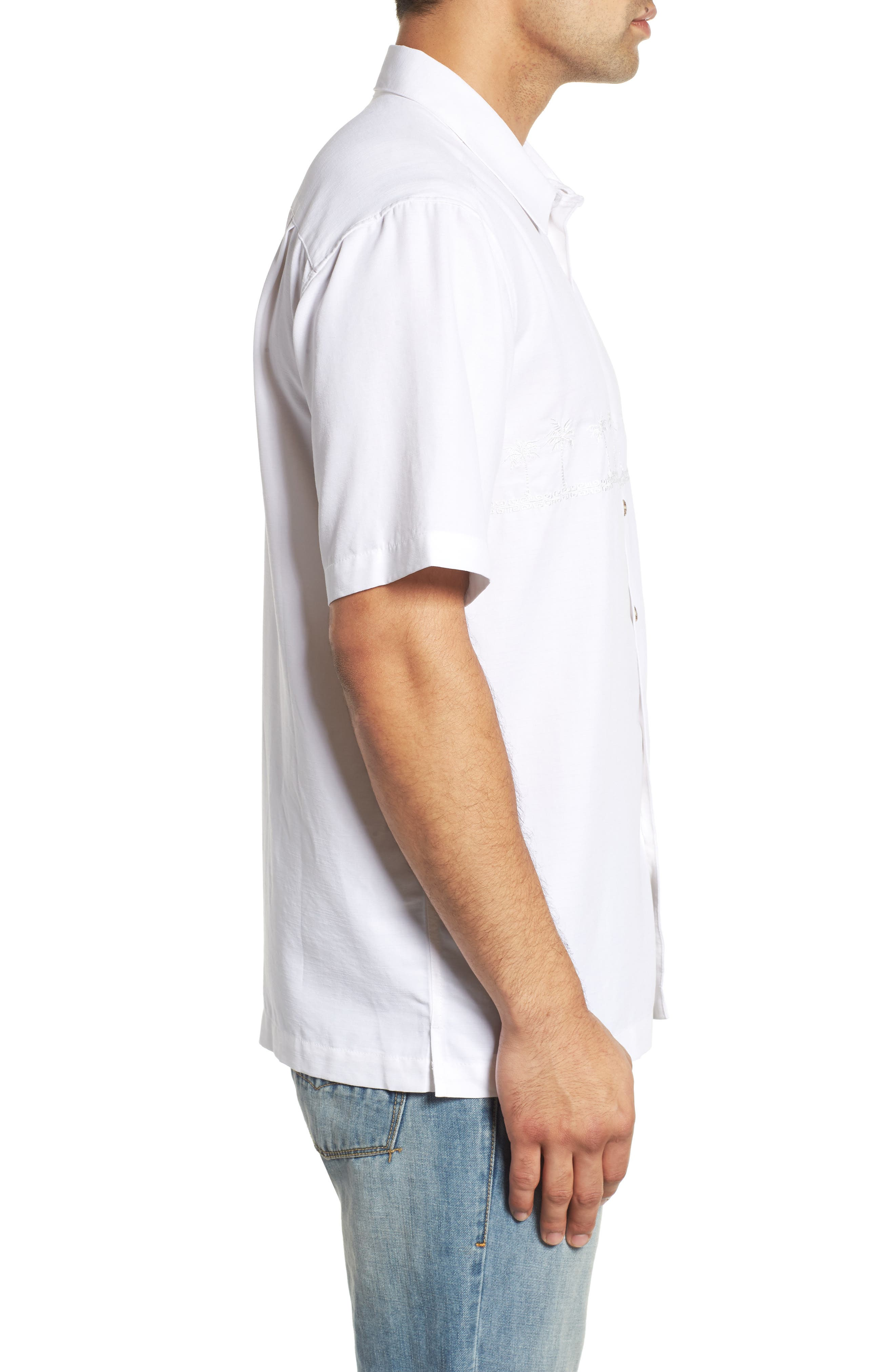QUIKSILVER WATERMAN COLLECTION,                             Tahiti Palms Regular Fit Sport Shirt,                             Alternate thumbnail 4, color,                             WHITE