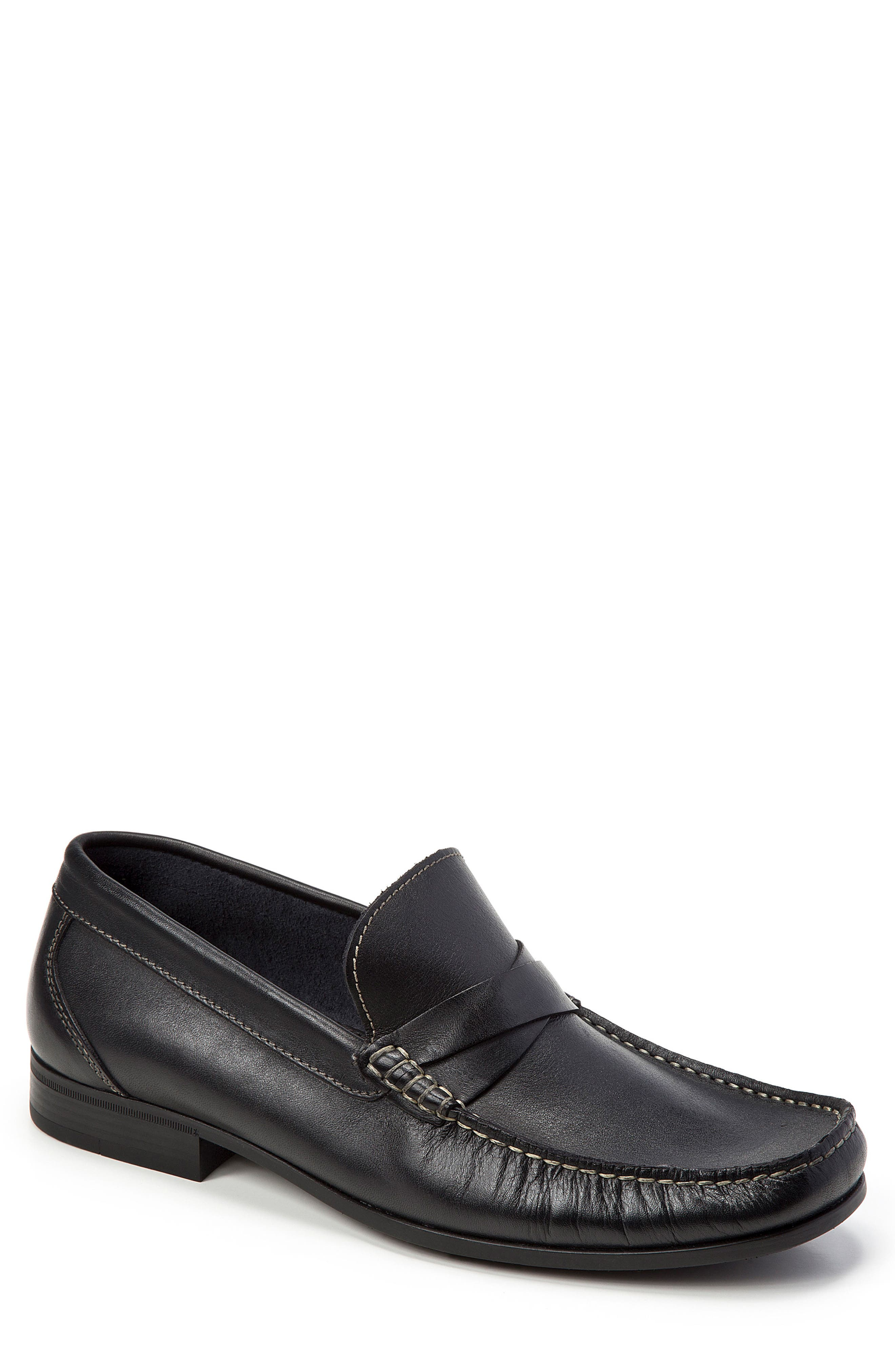Abruzo Cross Strap Loafer,                         Main,                         color, BLACK