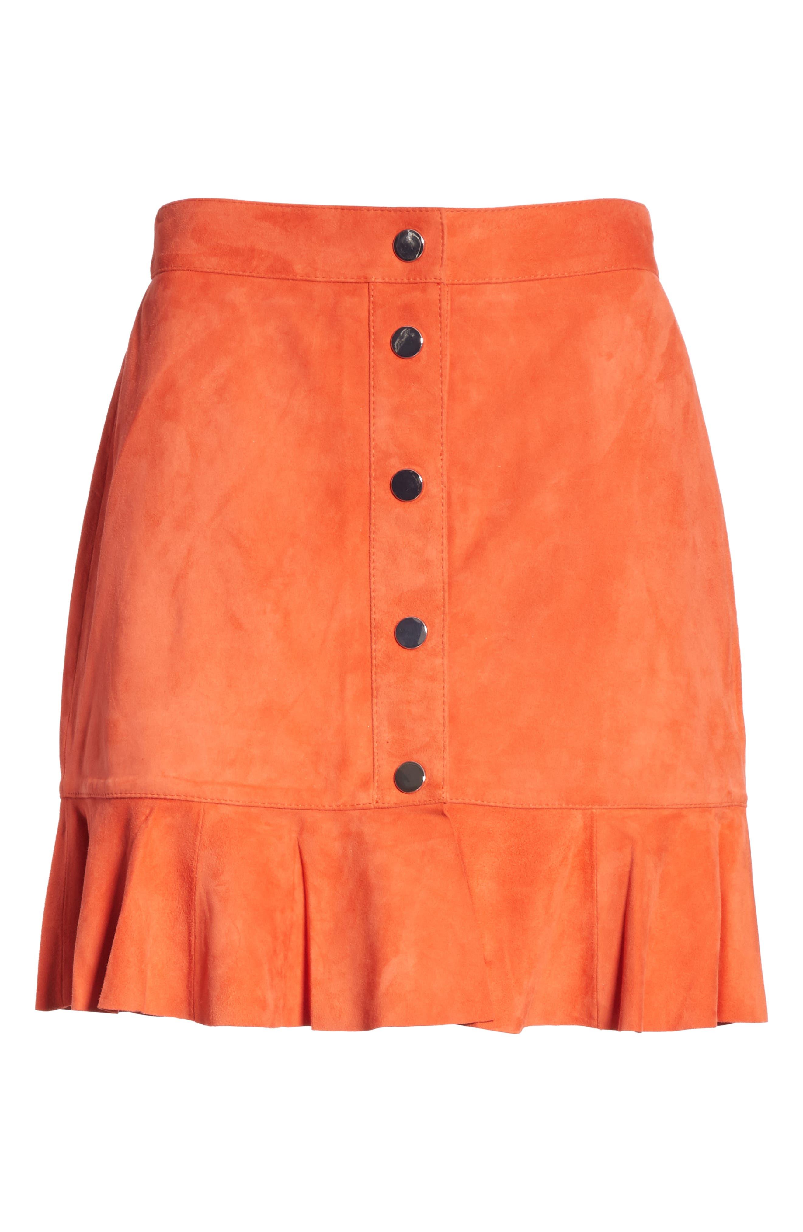 GANNI,                             Salvia Suede Skirt,                             Alternate thumbnail 6, color,                             800