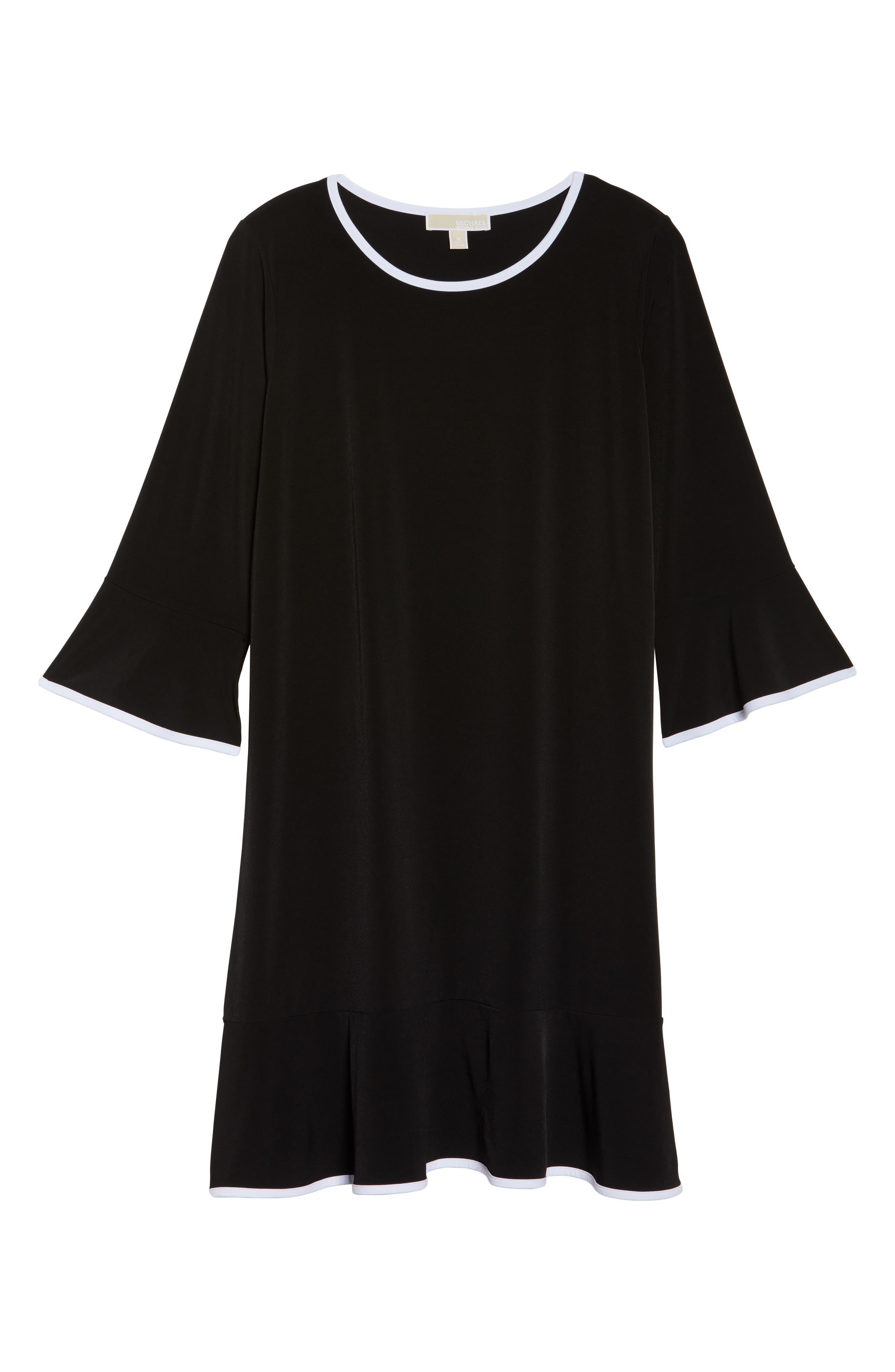 Solid Flounce Dress,                             Alternate thumbnail 6, color,                             001