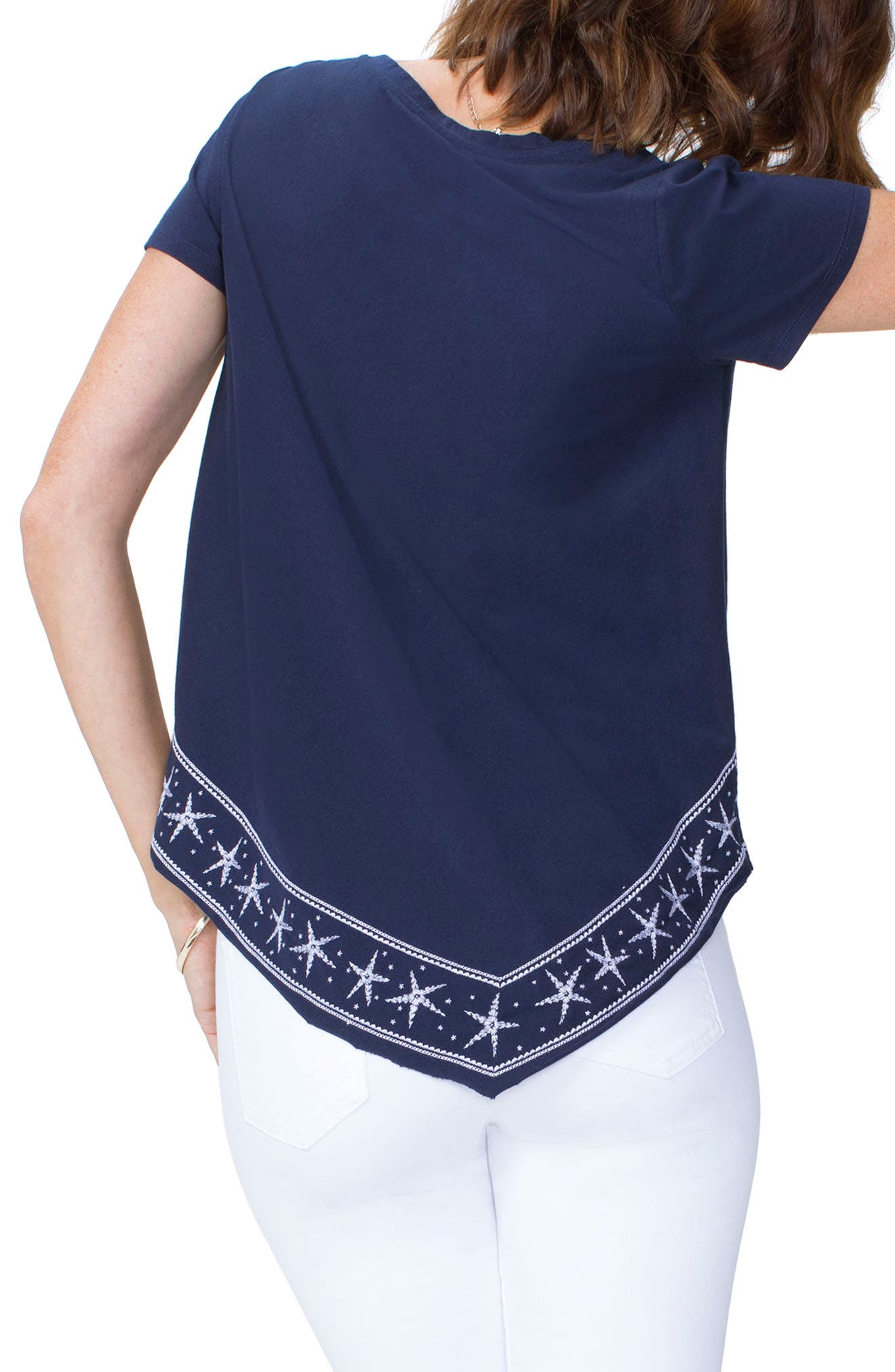 Embroidered Handkerchief Cotton Blend Top,                             Alternate thumbnail 2, color,                             401