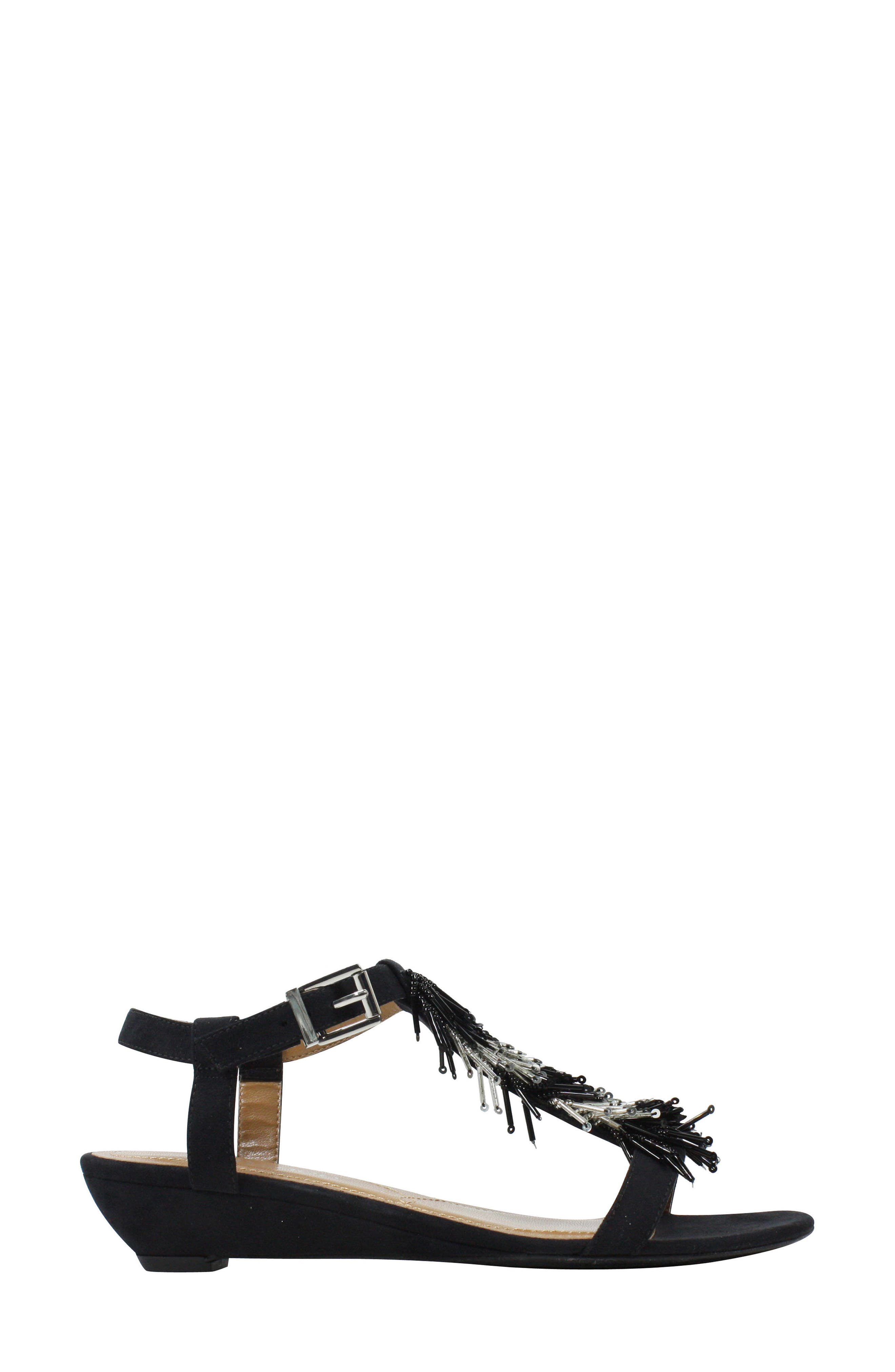 Alessa Sandal,                             Alternate thumbnail 3, color,                             BLACK/ SILVER FABRIC