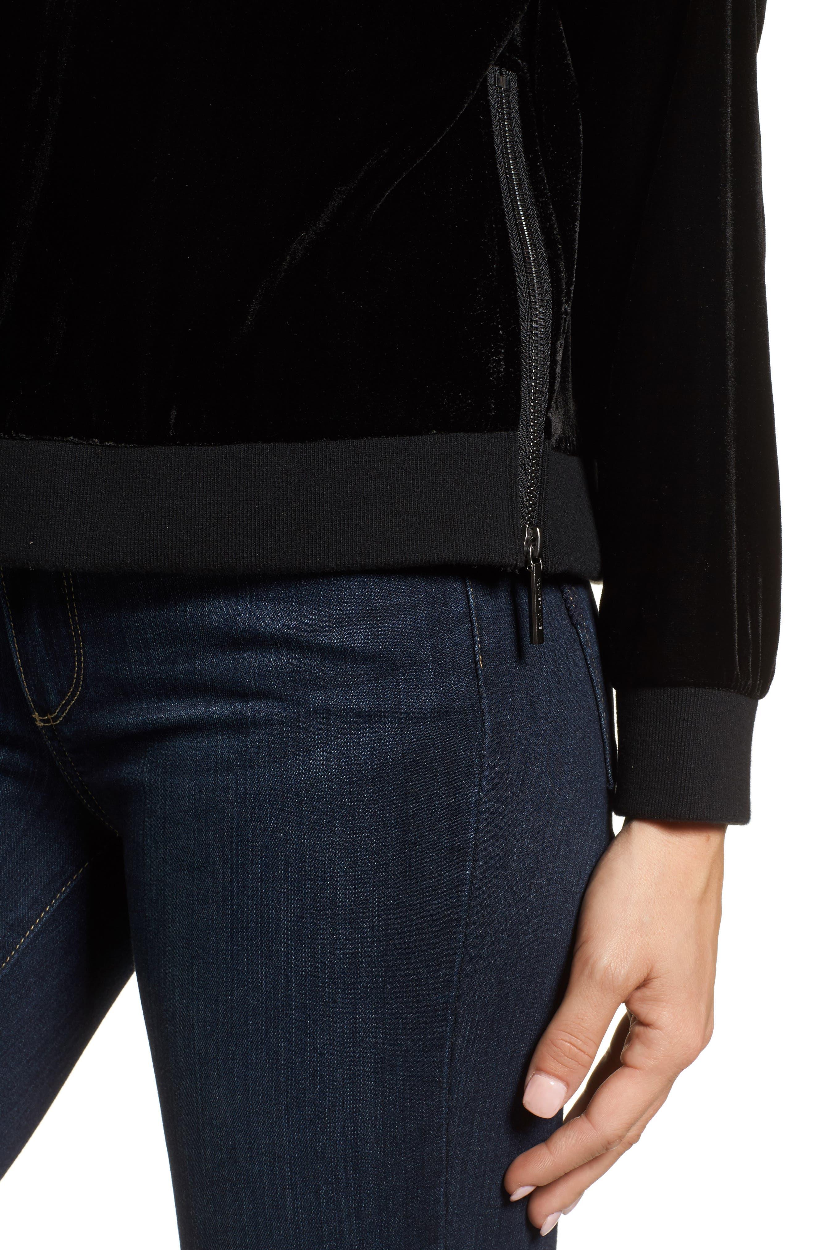 Zipper Velvet Sweatshirt,                             Alternate thumbnail 4, color,                             BLACK