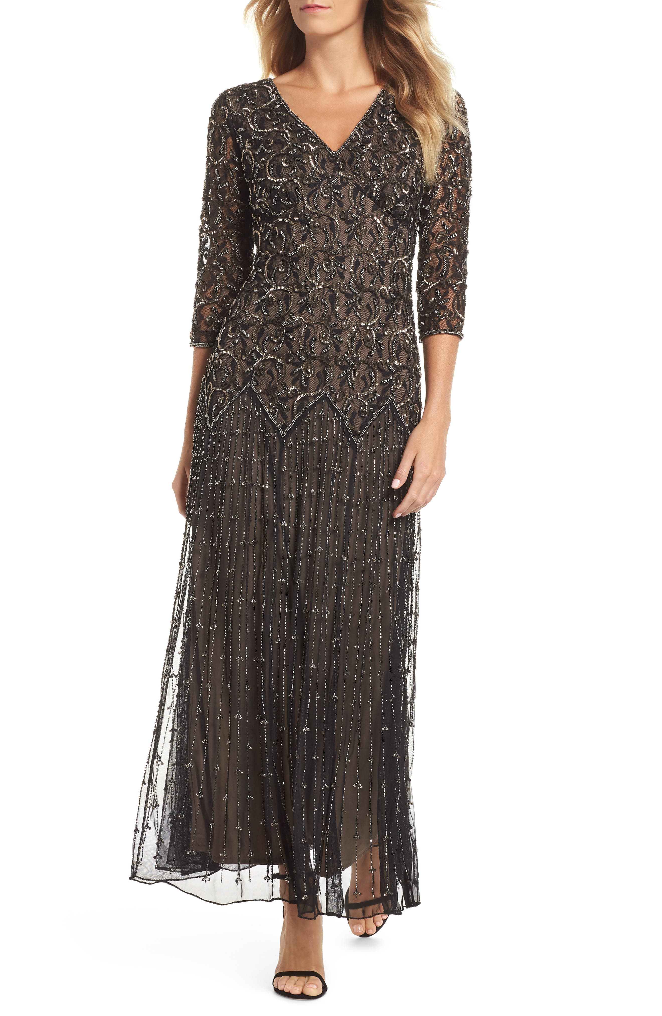 Embellished Mesh Gown,                         Main,                         color, BLACK
