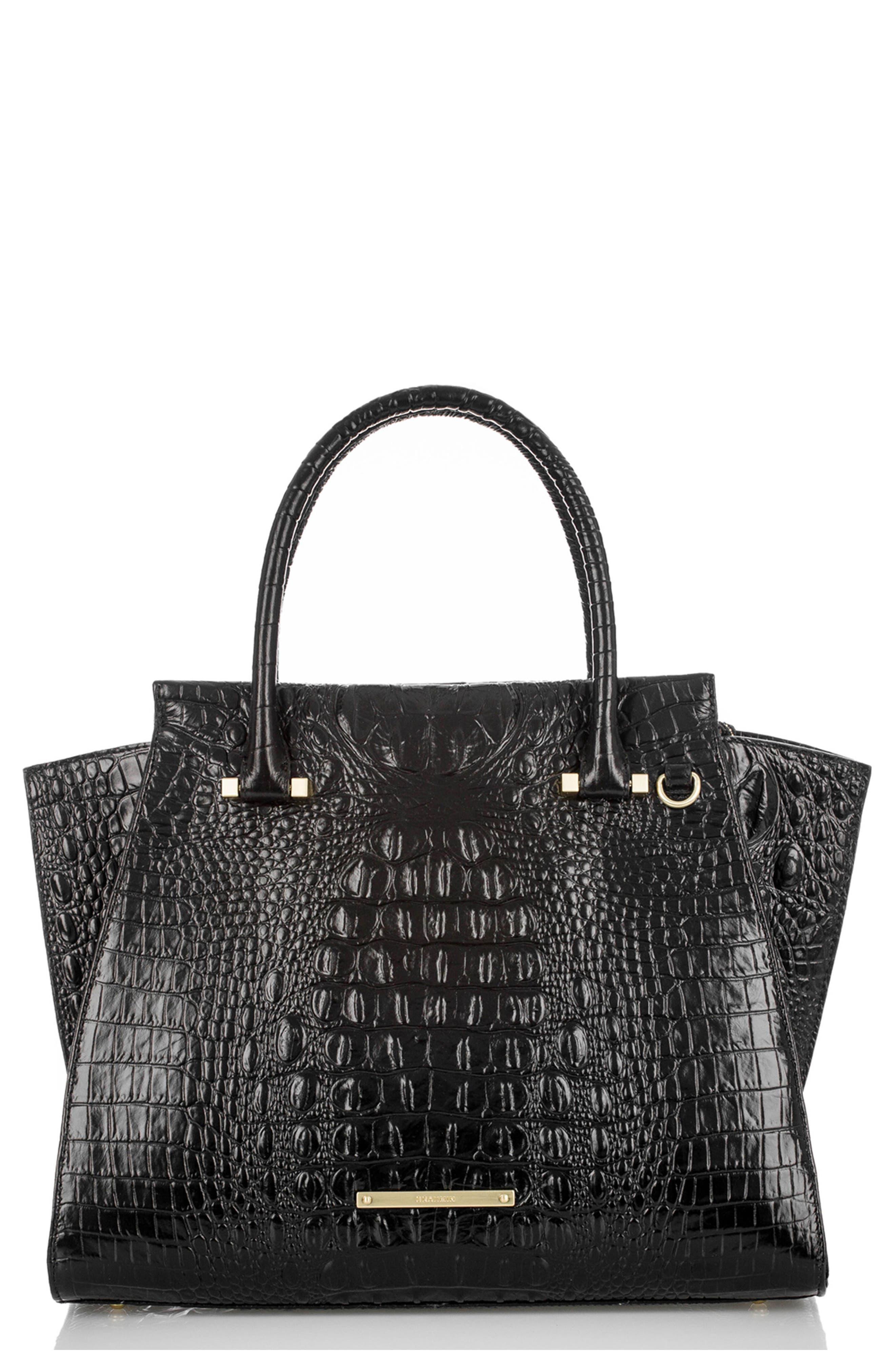 'Priscilla' Croc Embossed Leather Satchel,                         Main,                         color, BLACK